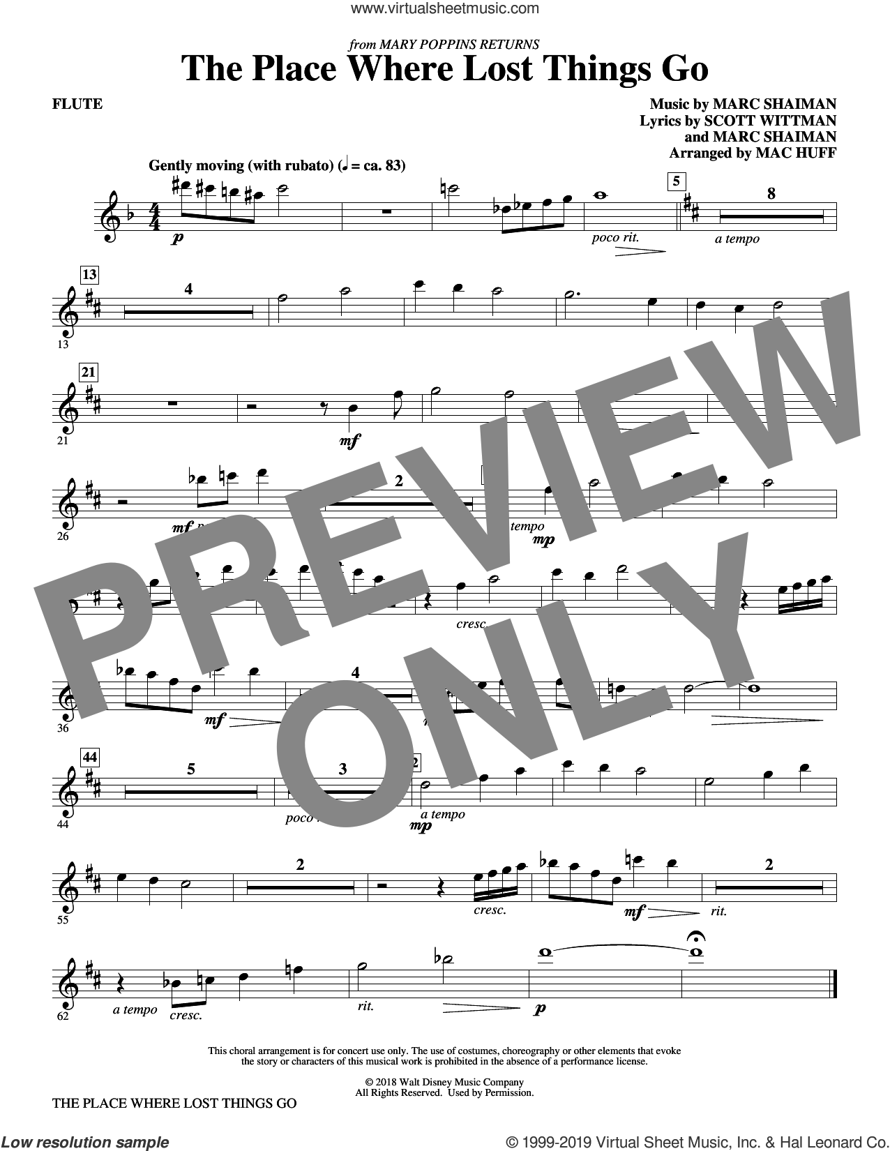 The Place Where Lost Things Go (from Mary Poppins Returns) (arr. Mac Huff) (complete set of parts) sheet music for orchestra/band by Mac Huff, Emily Blunt, Marc Shaiman and Scott Wittman, intermediate skill level