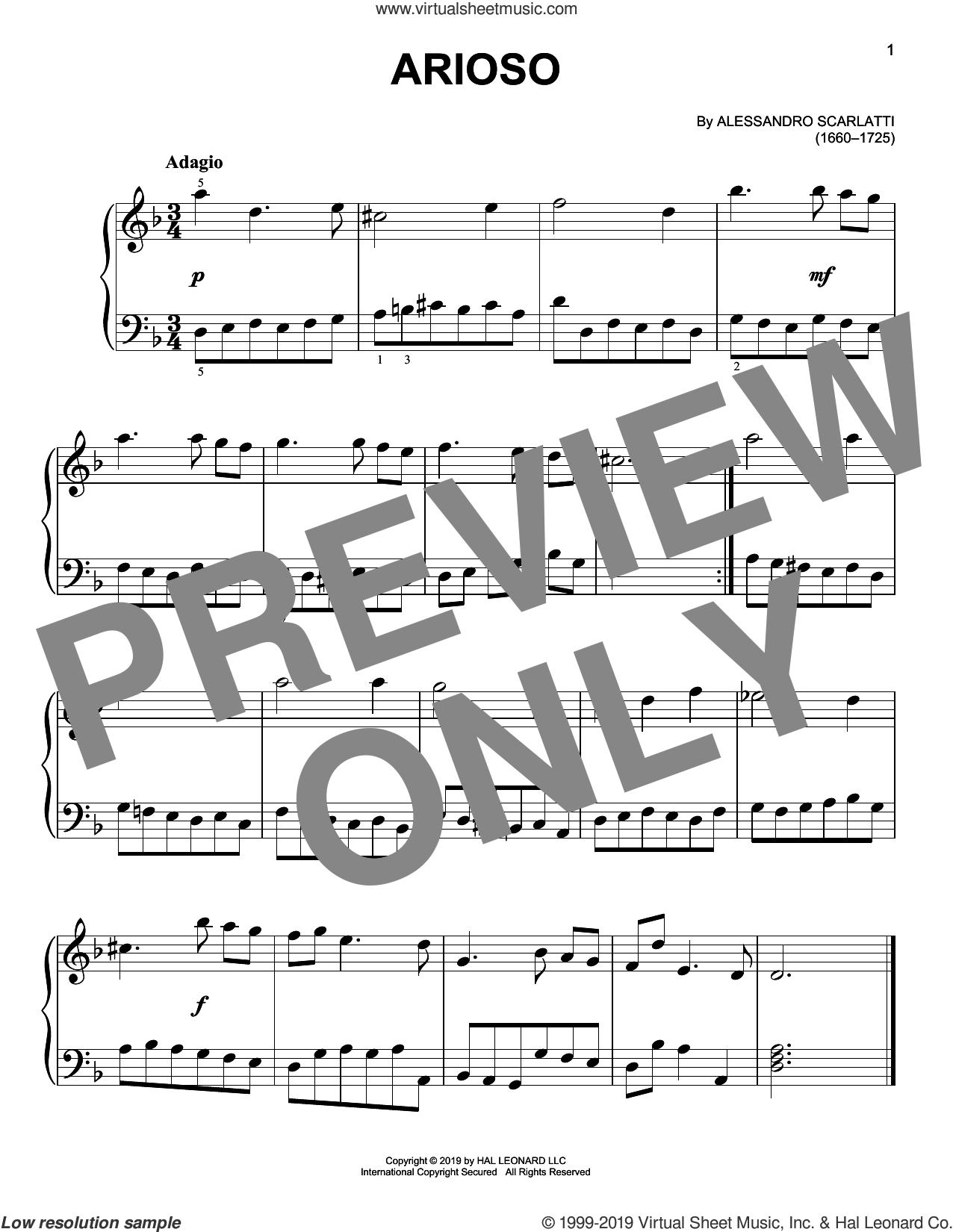 Arioso sheet music for piano solo by Alessandro Scarlatti, classical score, easy skill level