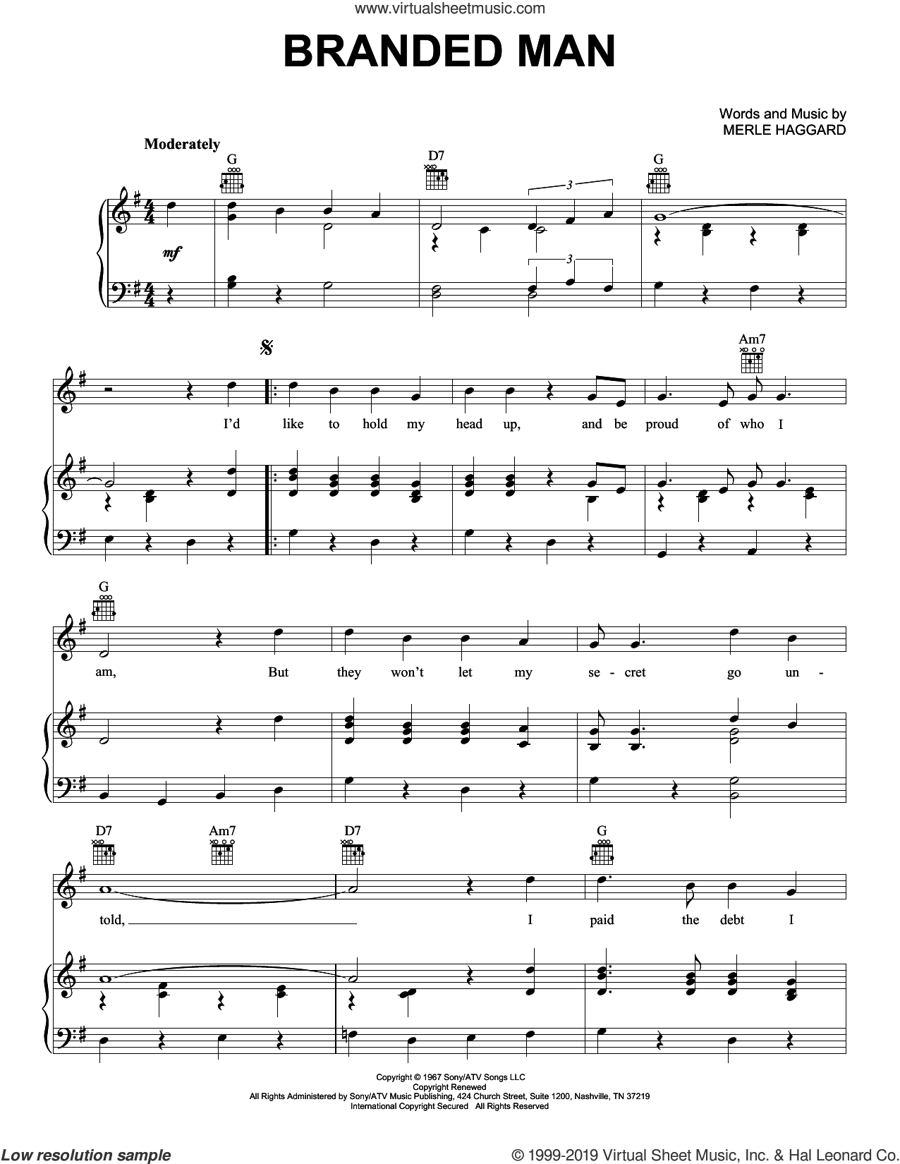 Branded Man sheet music for voice, piano or guitar by Merle Haggard, intermediate skill level