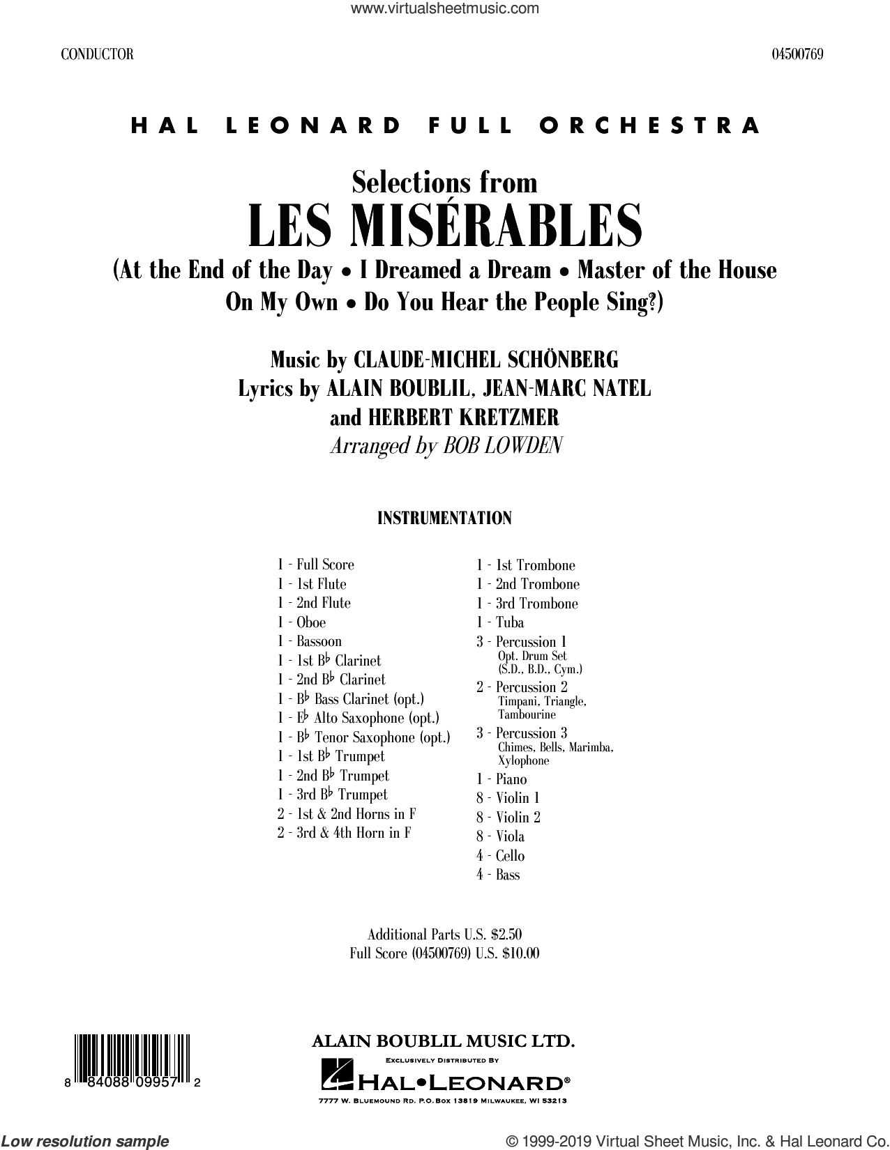 Selections from Les Miserables (arr. Bob Lowden) (COMPLETE) sheet music for full orchestra by Alain Boublil, Bob Lowden, Claude-Michael Schonberg and Claude-Michel Schonberg, intermediate skill level