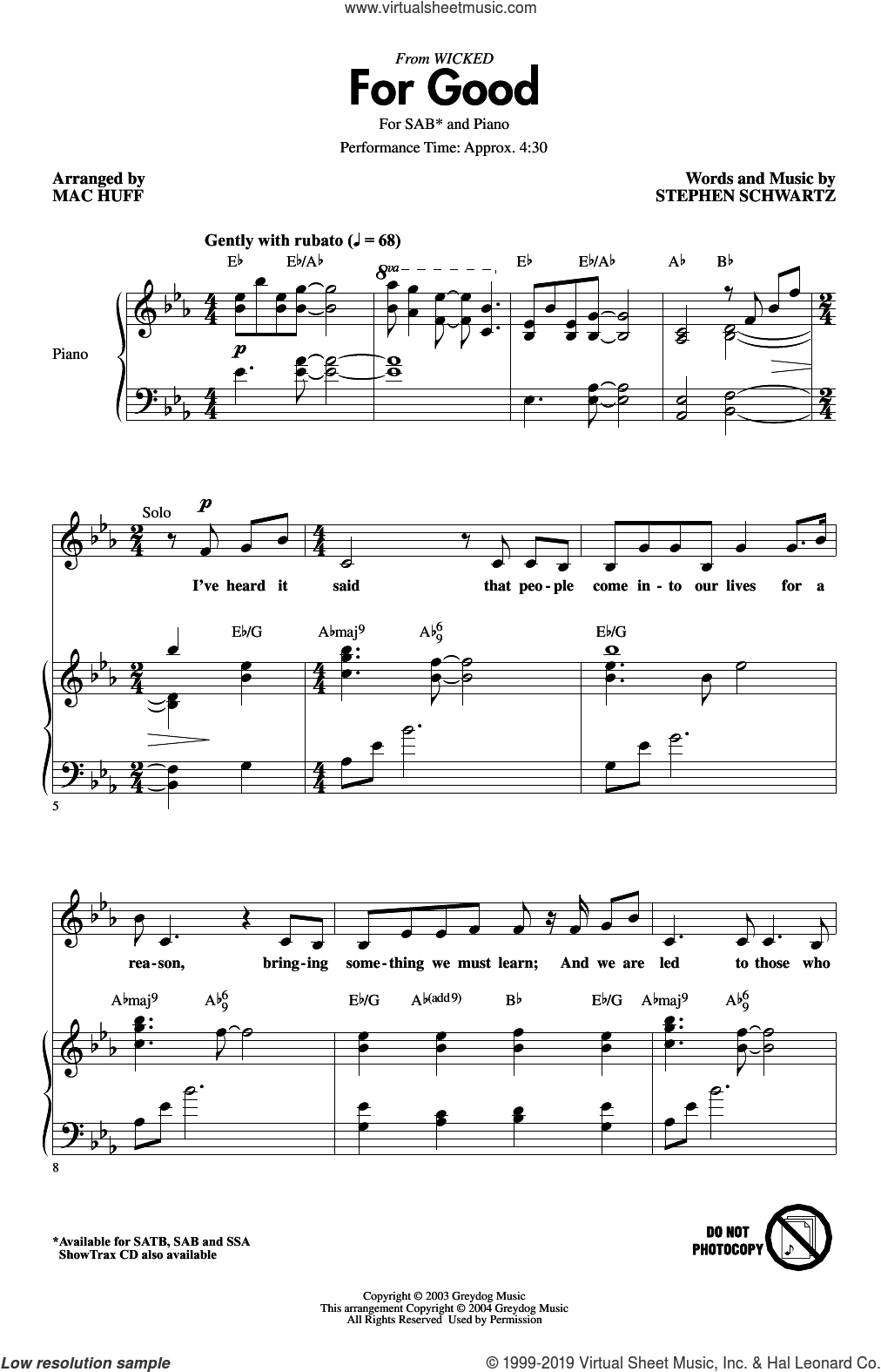 For Good (from Wicked) (arr. Mac Huff) sheet music for choir (SAB: soprano, alto, bass) by Stephen Schwartz and Mac Huff, intermediate skill level
