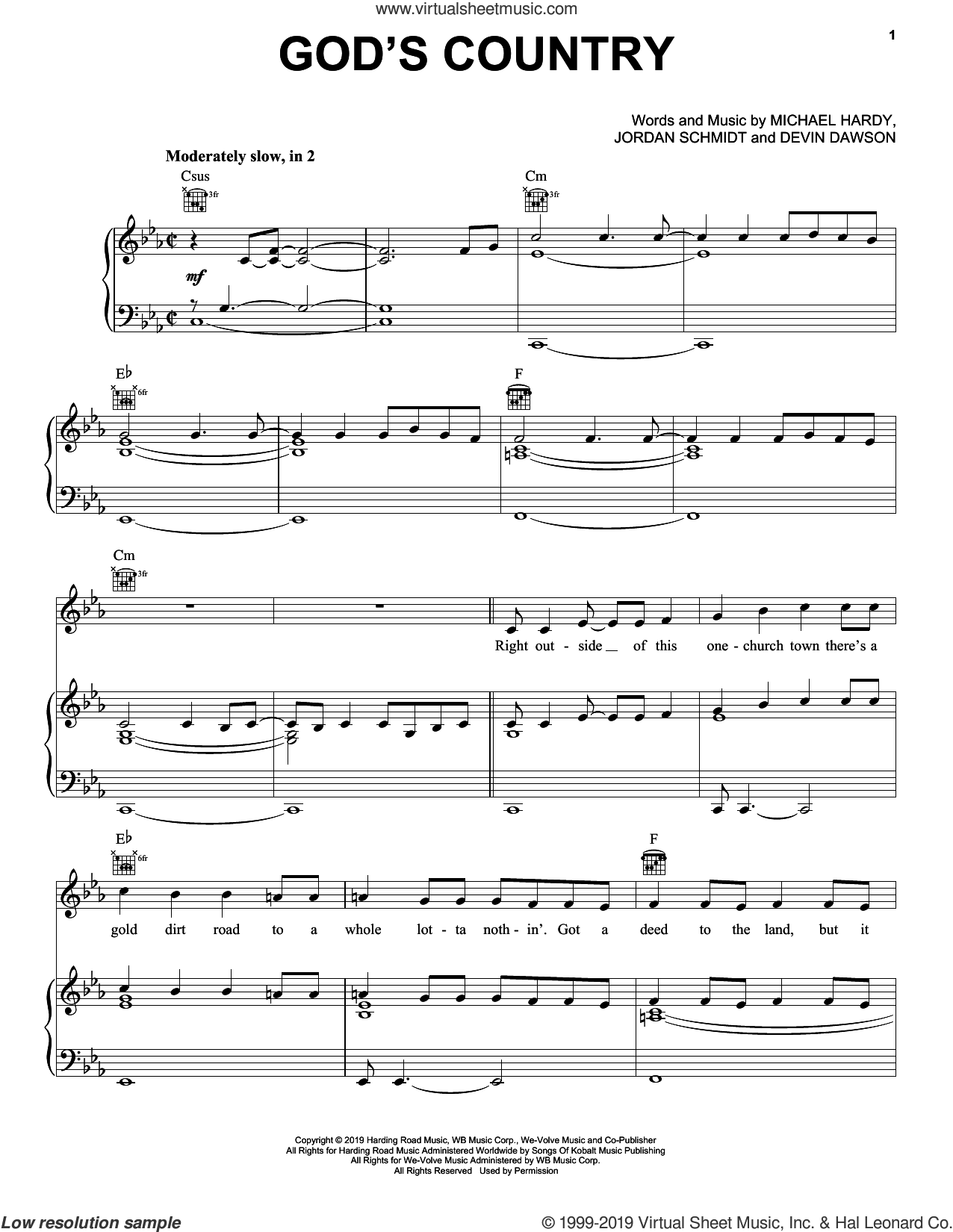 God's Country sheet music for voice, piano or guitar by Blake Shelton, Devin Dawson, Jordan Schmidt and Michael Hardy, intermediate skill level