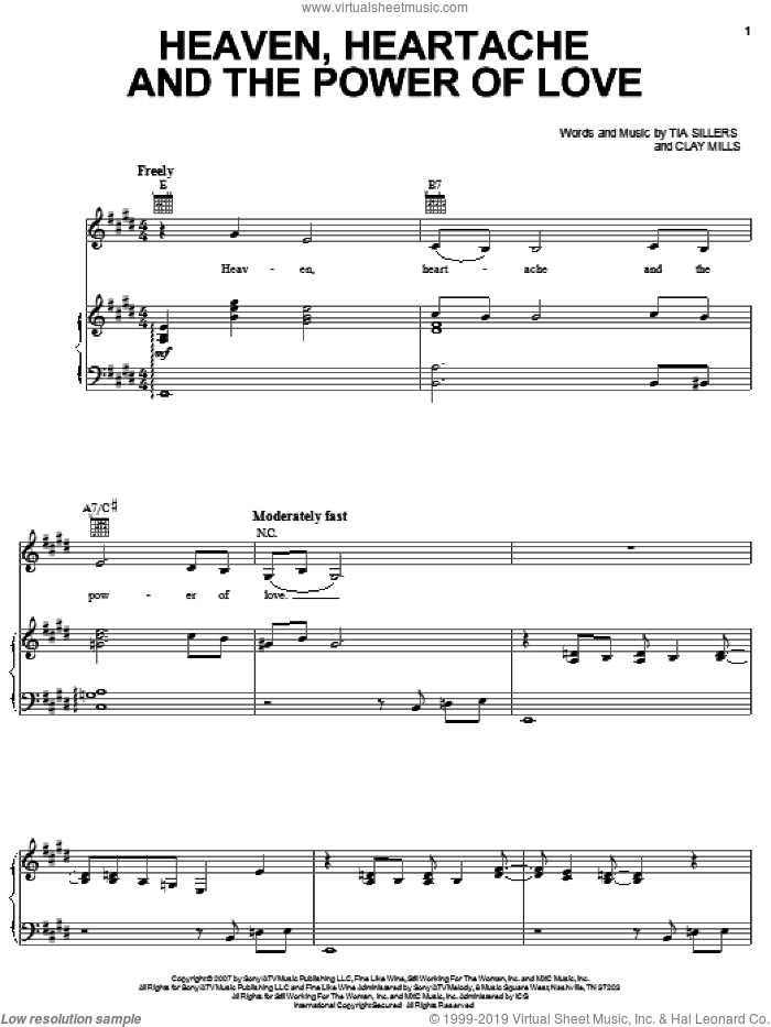 Heaven, Heartache And The Power Of Love sheet music for voice, piano or guitar by Trisha Yearwood and Clay Mills, intermediate. Score Image Preview.