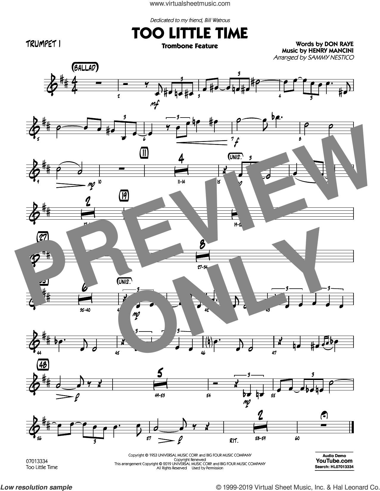 Too Little Time (arr. Sammy Nestico), conductor score (full score) sheet music for jazz band (trumpet 1) by Henry Mancini, Sammy Nestico, Bill Watrous and Don Raye, intermediate skill level