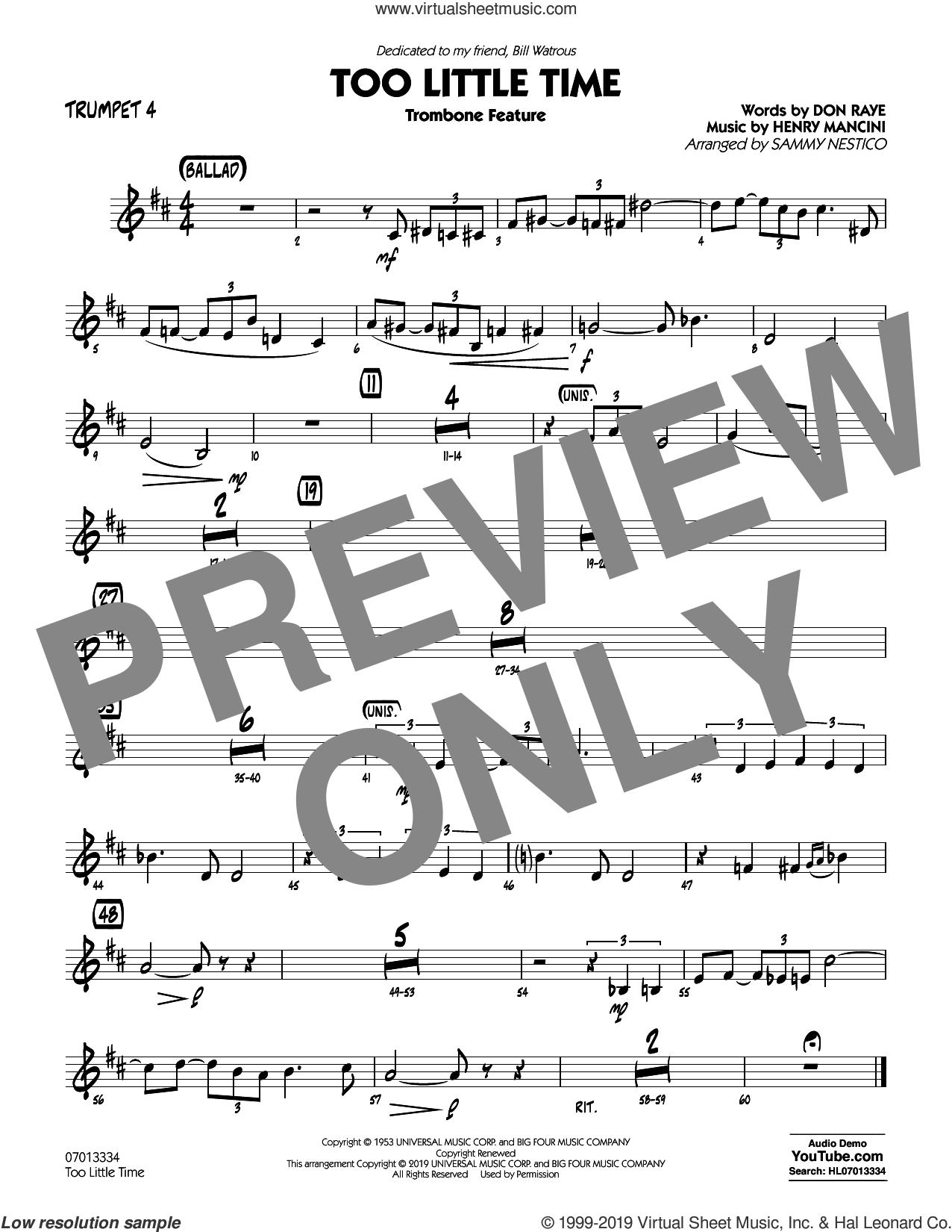 Too Little Time (arr. Sammy Nestico), conductor score (full score) sheet music for jazz band (trumpet 4) by Henry Mancini, Sammy Nestico, Bill Watrous and Don Raye, intermediate skill level