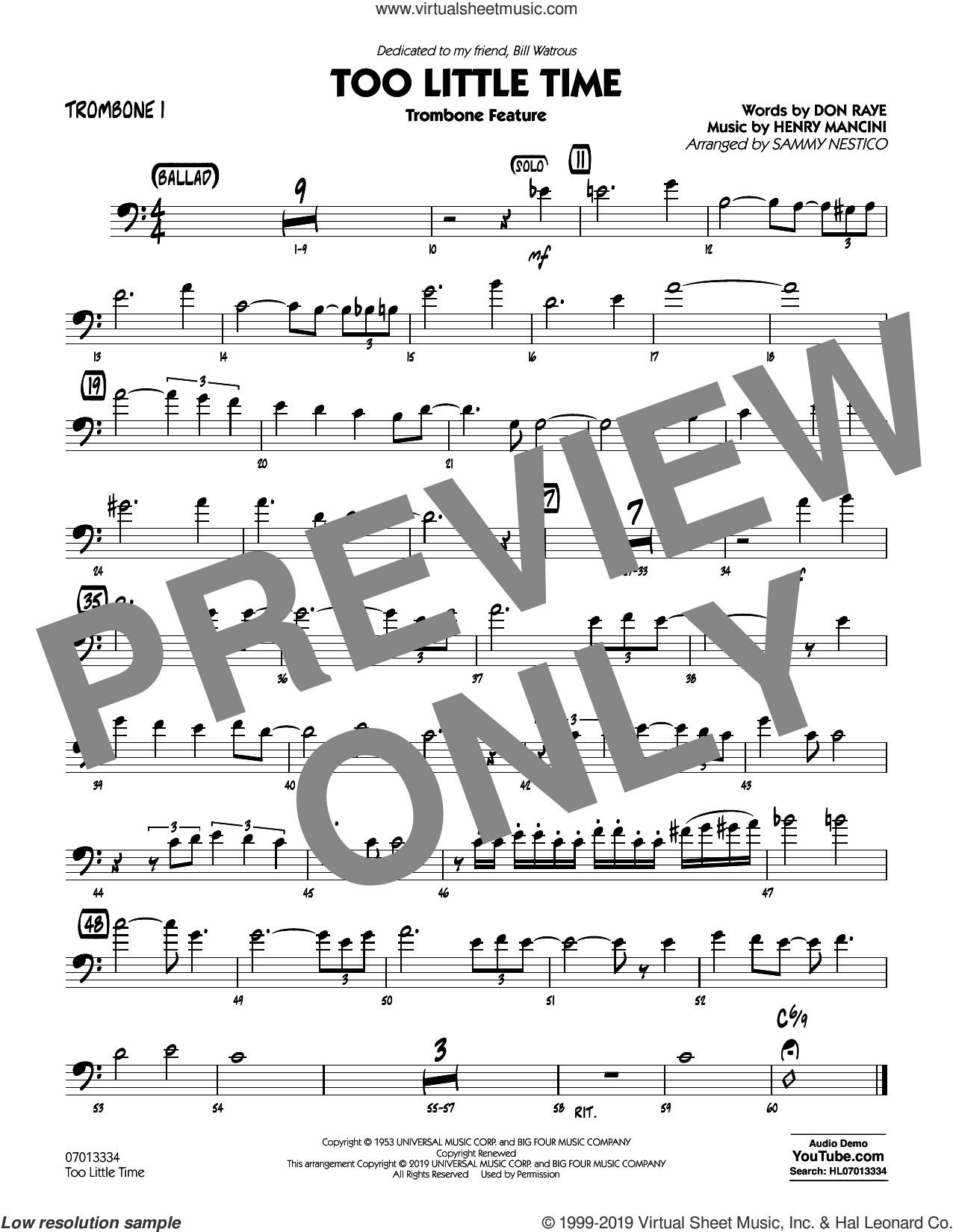 Too Little Time (arr. Sammy Nestico), conductor score (full score) sheet music for jazz band (trombone 1) by Henry Mancini, Sammy Nestico, Bill Watrous and Don Raye, intermediate skill level