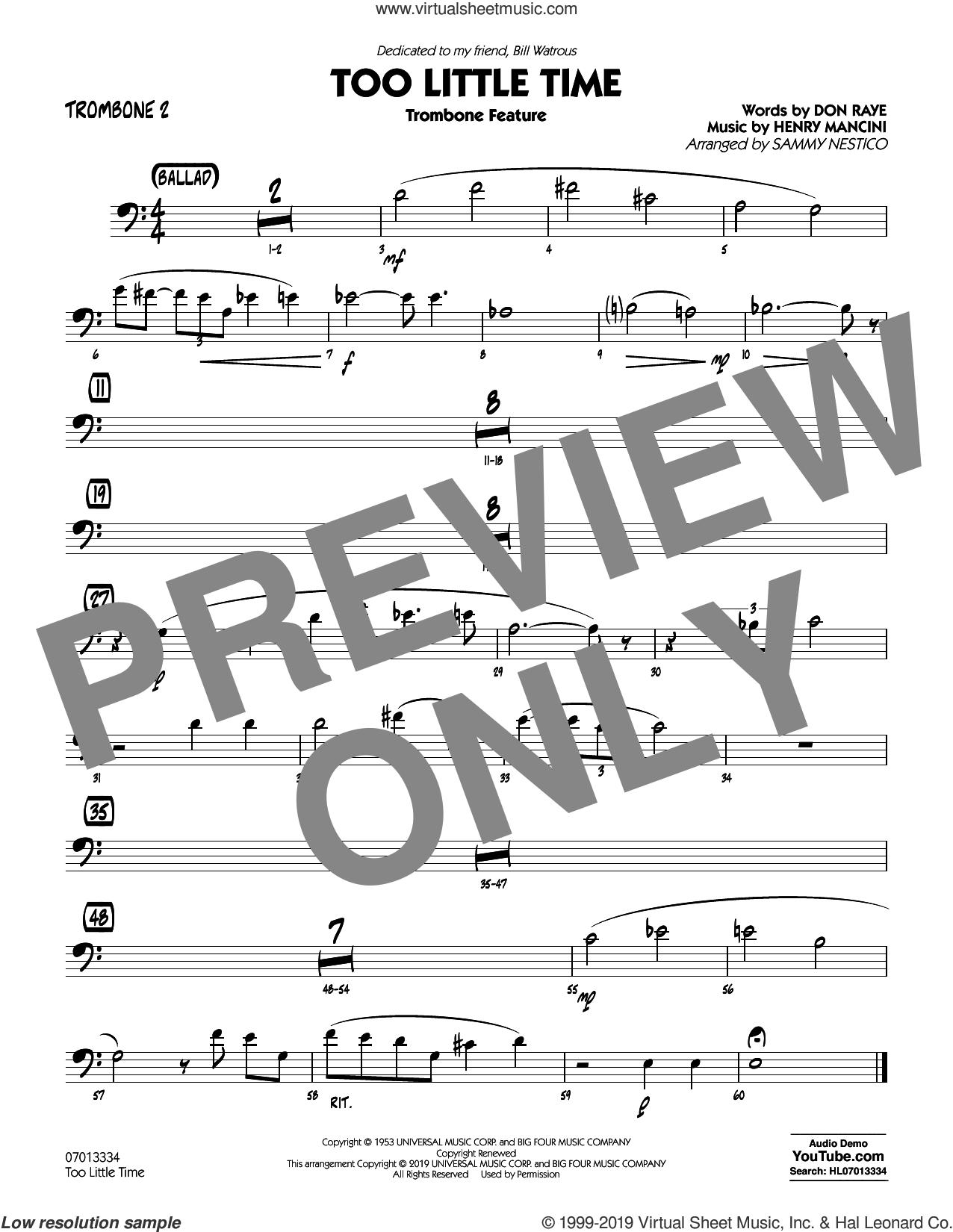 Too Little Time (arr. Sammy Nestico), conductor score (full score) sheet music for jazz band (trombone 2) by Henry Mancini, Sammy Nestico, Bill Watrous and Don Raye, intermediate skill level