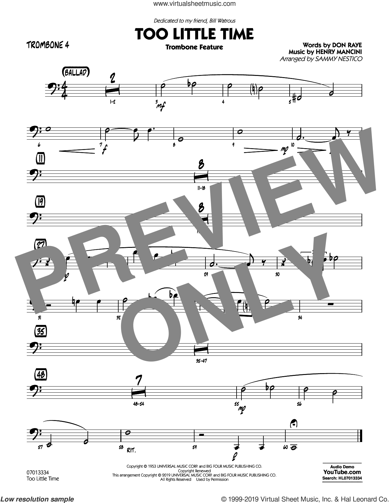 Too Little Time (arr. Sammy Nestico), conductor score (full score) sheet music for jazz band (trombone 4) by Henry Mancini, Sammy Nestico, Bill Watrous and Don Raye, intermediate skill level