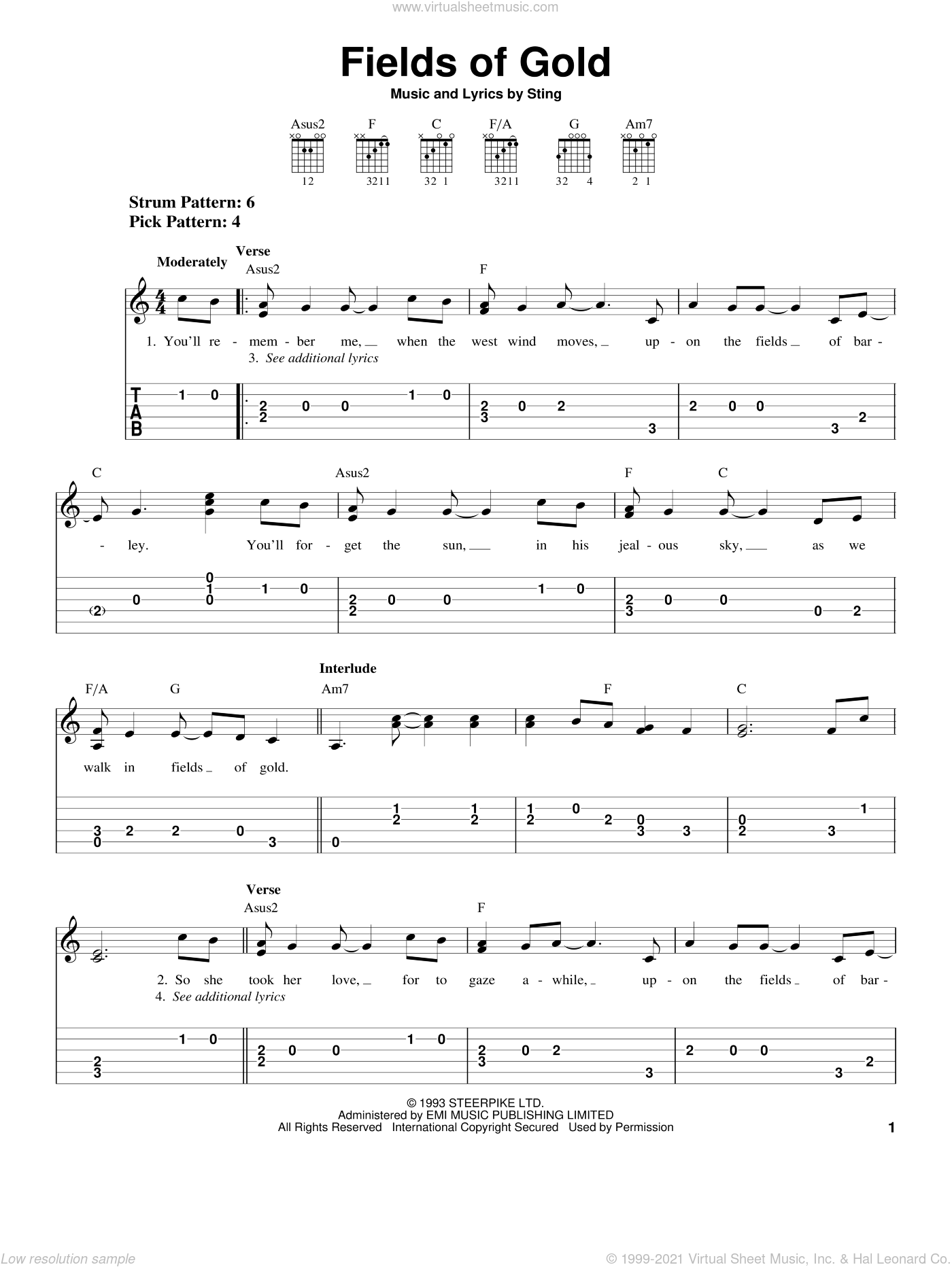 Fields Of Gold sheet music for guitar solo (easy tablature) by Sting, easy guitar (easy tablature). Score Image Preview.