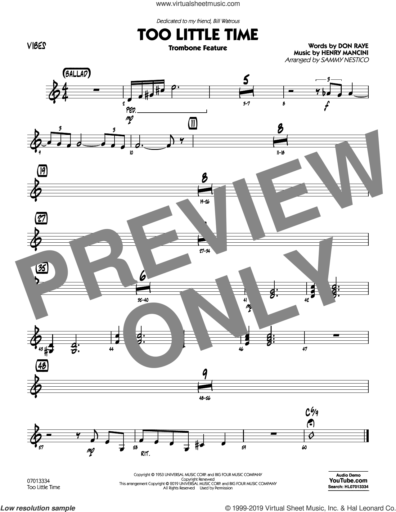 Too Little Time (arr. Sammy Nestico), conductor score (full score) sheet music for jazz band (vibes) by Henry Mancini, Sammy Nestico, Bill Watrous and Don Raye, intermediate skill level