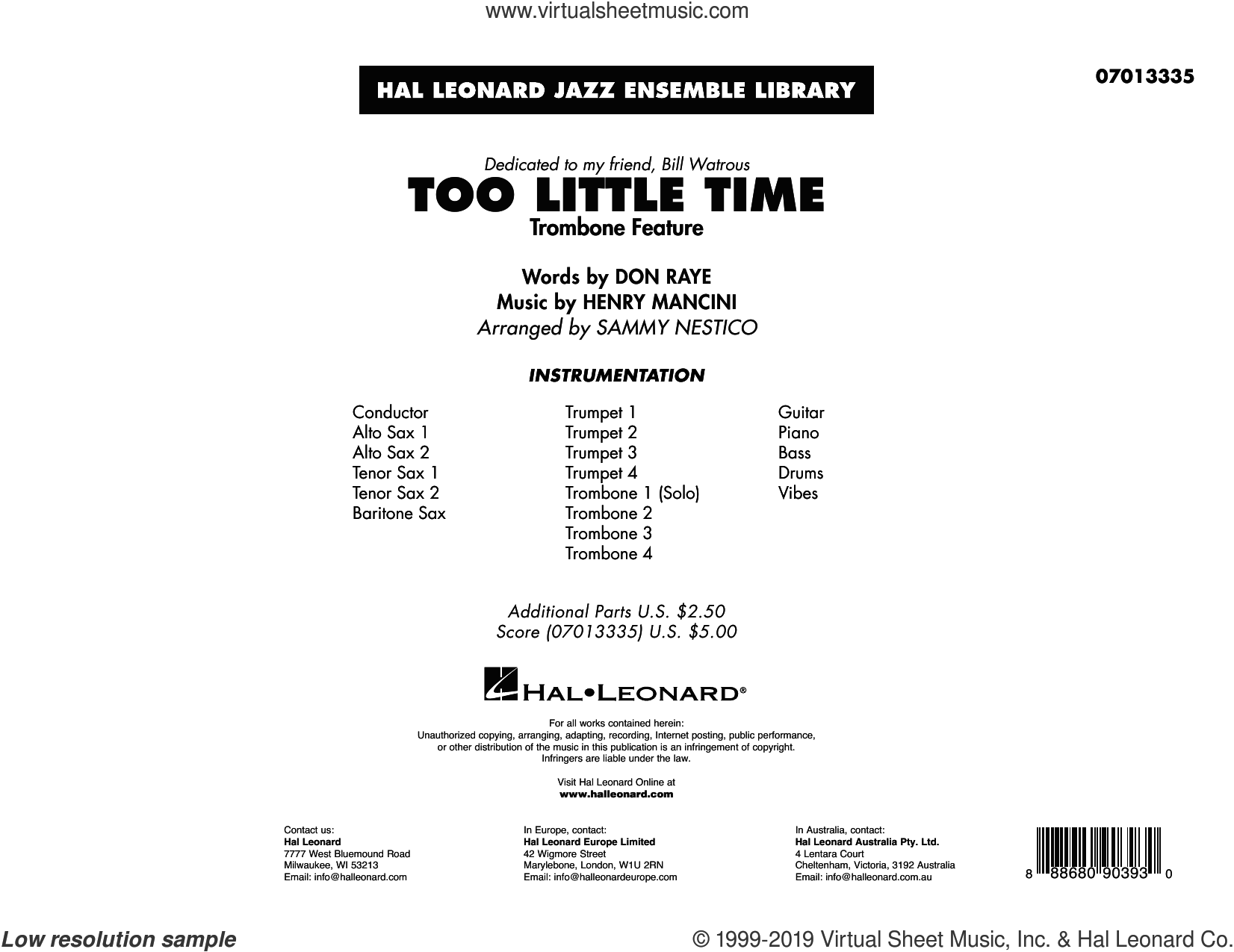 Too Little Time (arr. Sammy Nestico) (COMPLETE) sheet music for jazz band by Henry Mancini, Bill Watrous, Don Raye and Sammy Nestico, intermediate skill level
