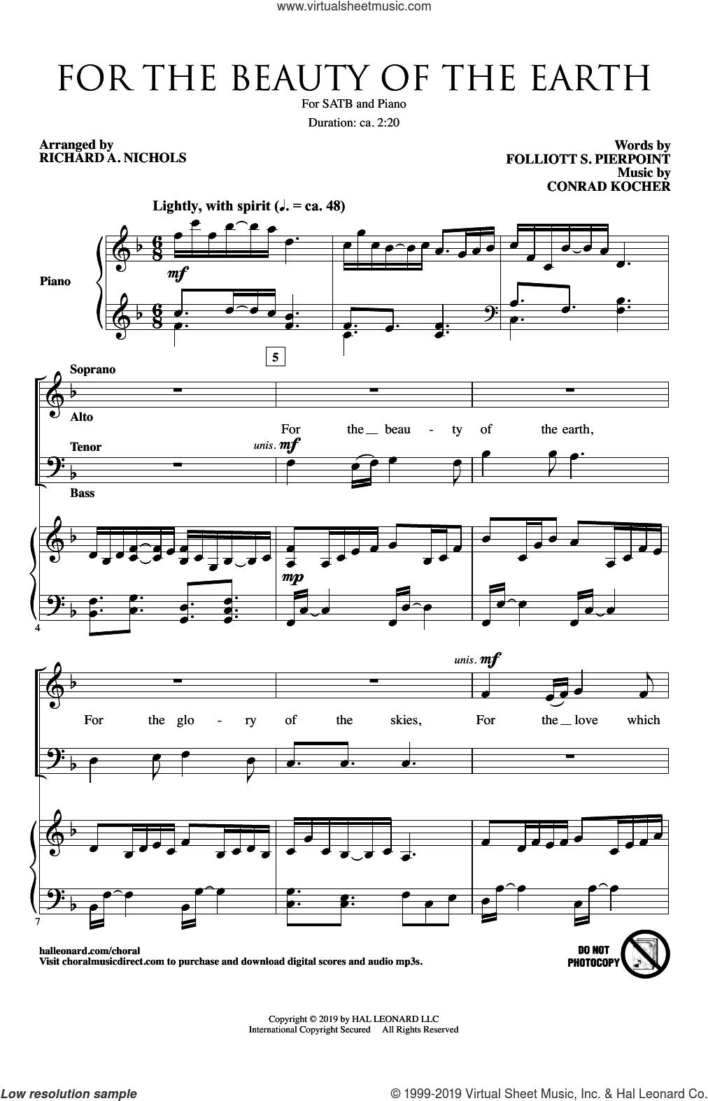 For The Beauty Of The Earth (arr. Richard A. Nichols) sheet music for choir (SATB: soprano, alto, tenor, bass) by Conrad Kocher, Richard A. Nichols, Folliot S. Pierpoint and Folliot S. Pierpoint & Conrad Kocher, intermediate skill level