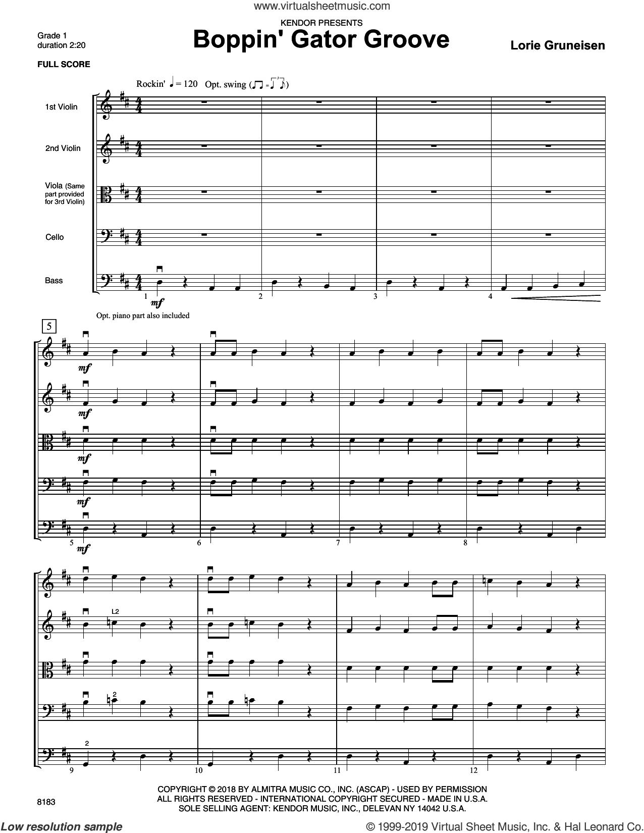 Boppin' Gator Groove (COMPLETE) sheet music for orchestra by Lorie Gruneisen, intermediate skill level