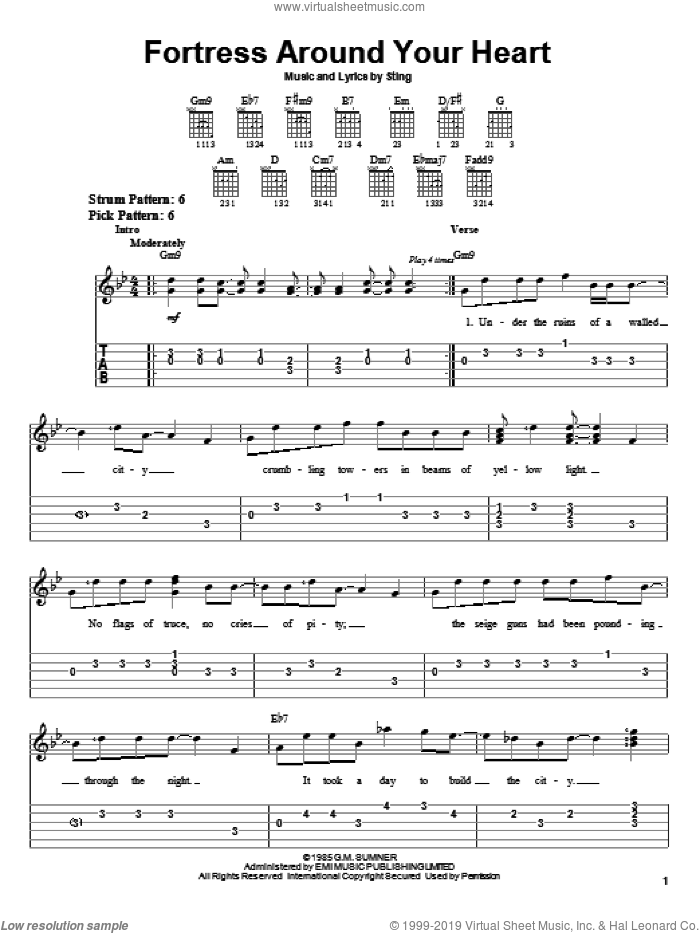 Fortress Around Your Heart sheet music for guitar solo (easy tablature) by Sting, easy guitar (easy tablature)