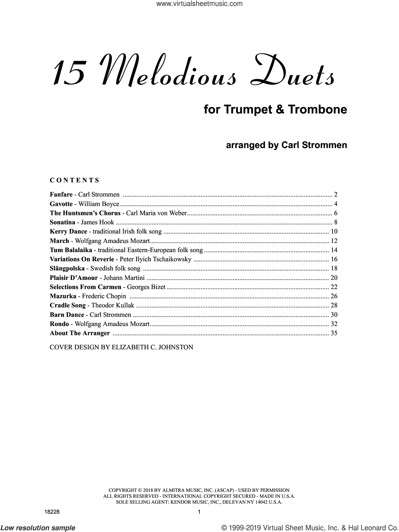 15 Melodious Duets sheet music for trumpet and trombone by Carl Strommen, intermediate duet
