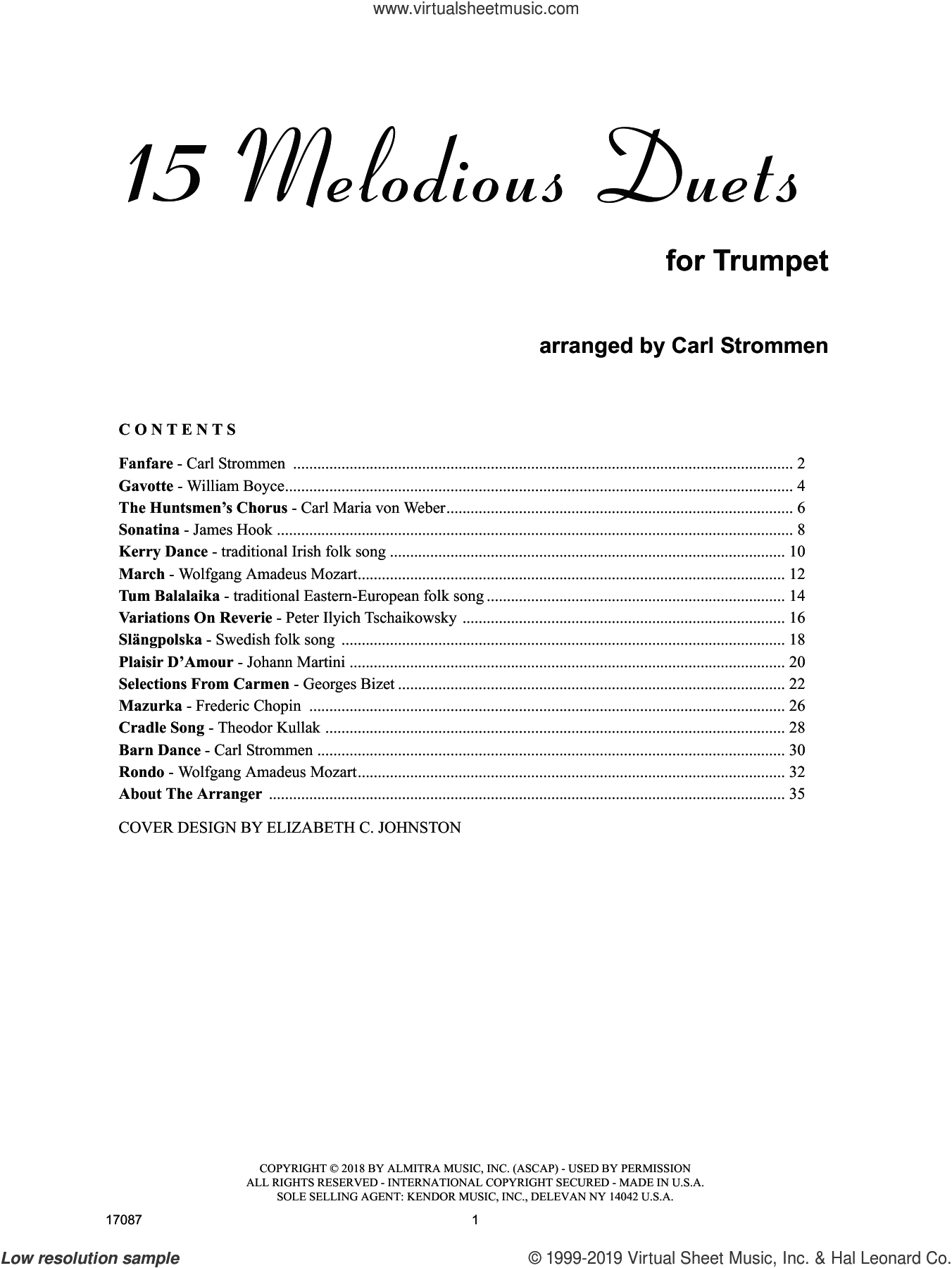 15 Melodious Duets sheet music for two trumpets by Carl Strommen, intermediate duet