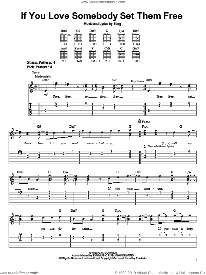 If You Love Somebody Set Them Free sheet music for guitar solo (easy tablature) by Sting. Score Image Preview.