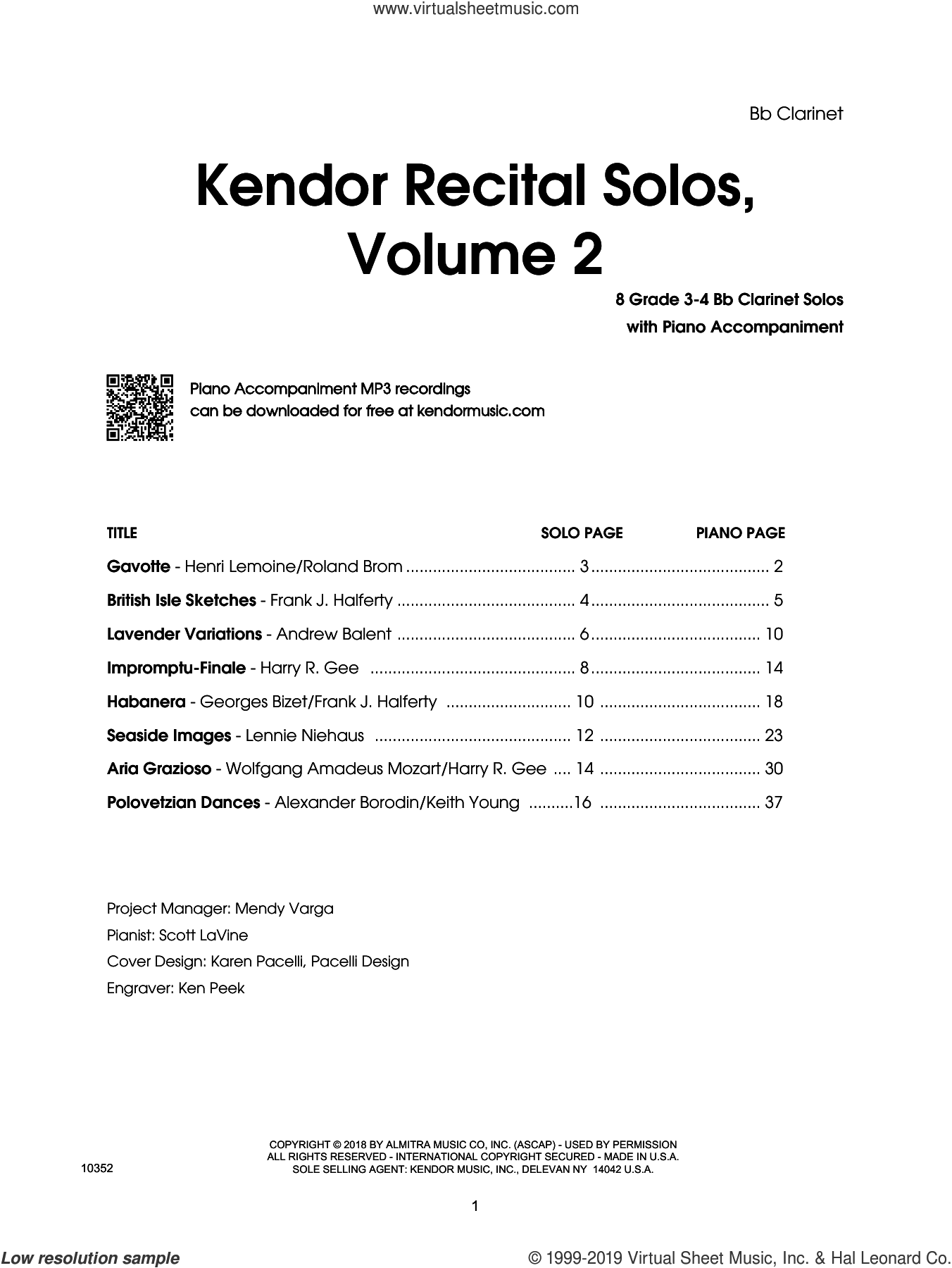 Kendor Recital Solos, Volume 2 - Bb Clarinet With Piano Accompaniment and MP3s (complete set of parts) sheet music for clarinet and piano, intermediate skill level