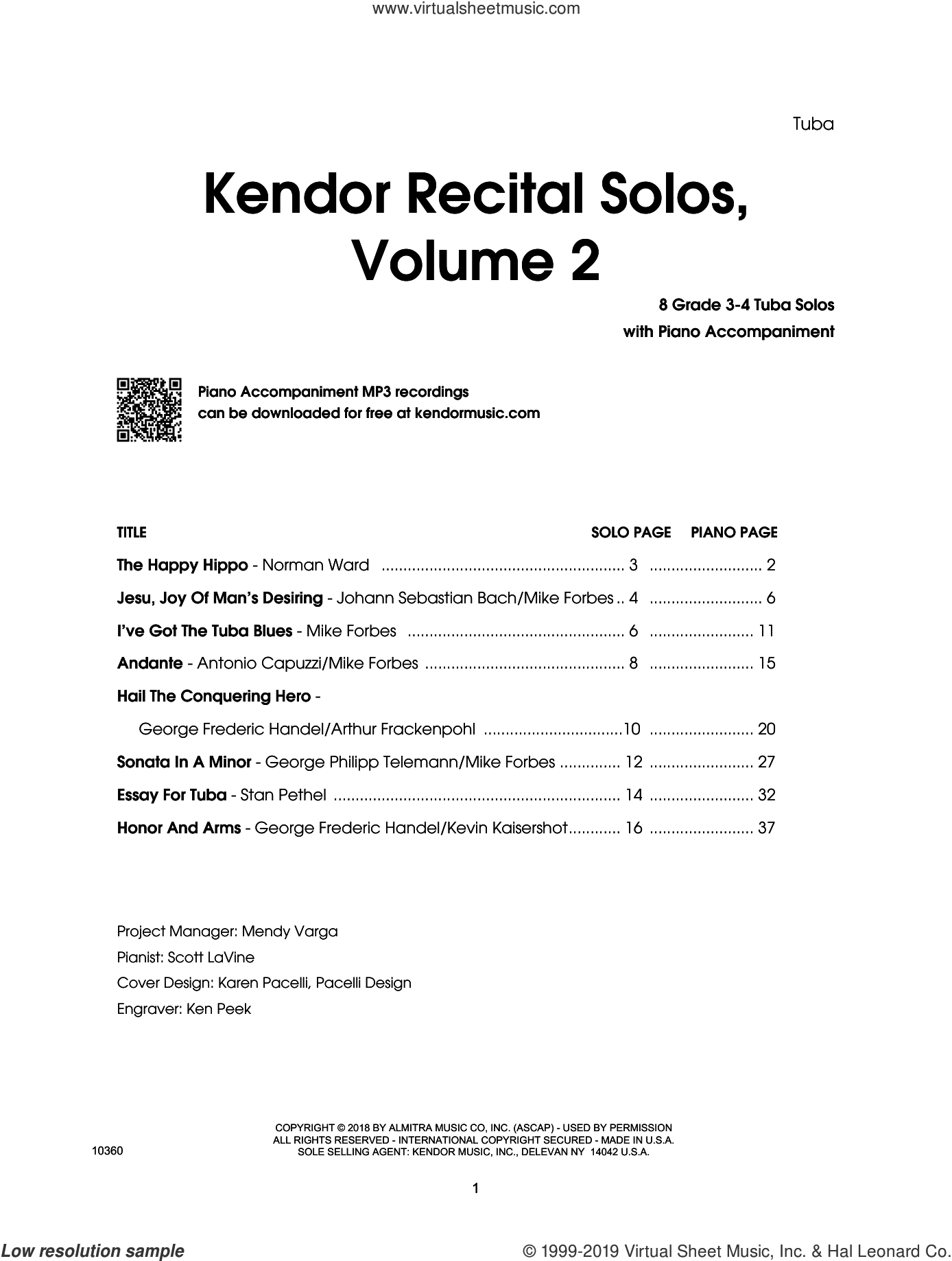Kendor Recital Solos, Volume 2 - Tuba With Piano Accompaniment and MP3's (complete set of parts) sheet music for tuba and piano, intermediate skill level