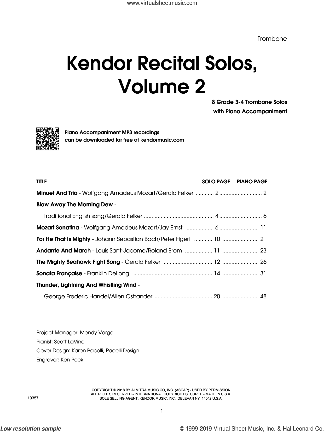 Kendor Recital Solos, Volume 2 - Trombone With Piano Accompaniment and MP3's (complete set of parts) sheet music for trombone and piano, intermediate skill level