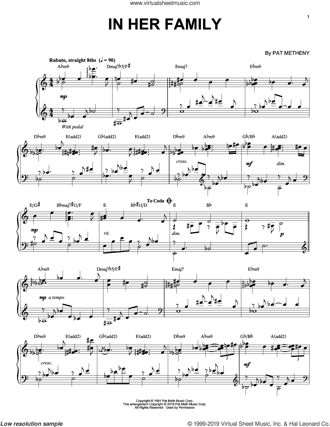 In Her Family sheet music for piano solo by Pat Metheny, intermediate skill level