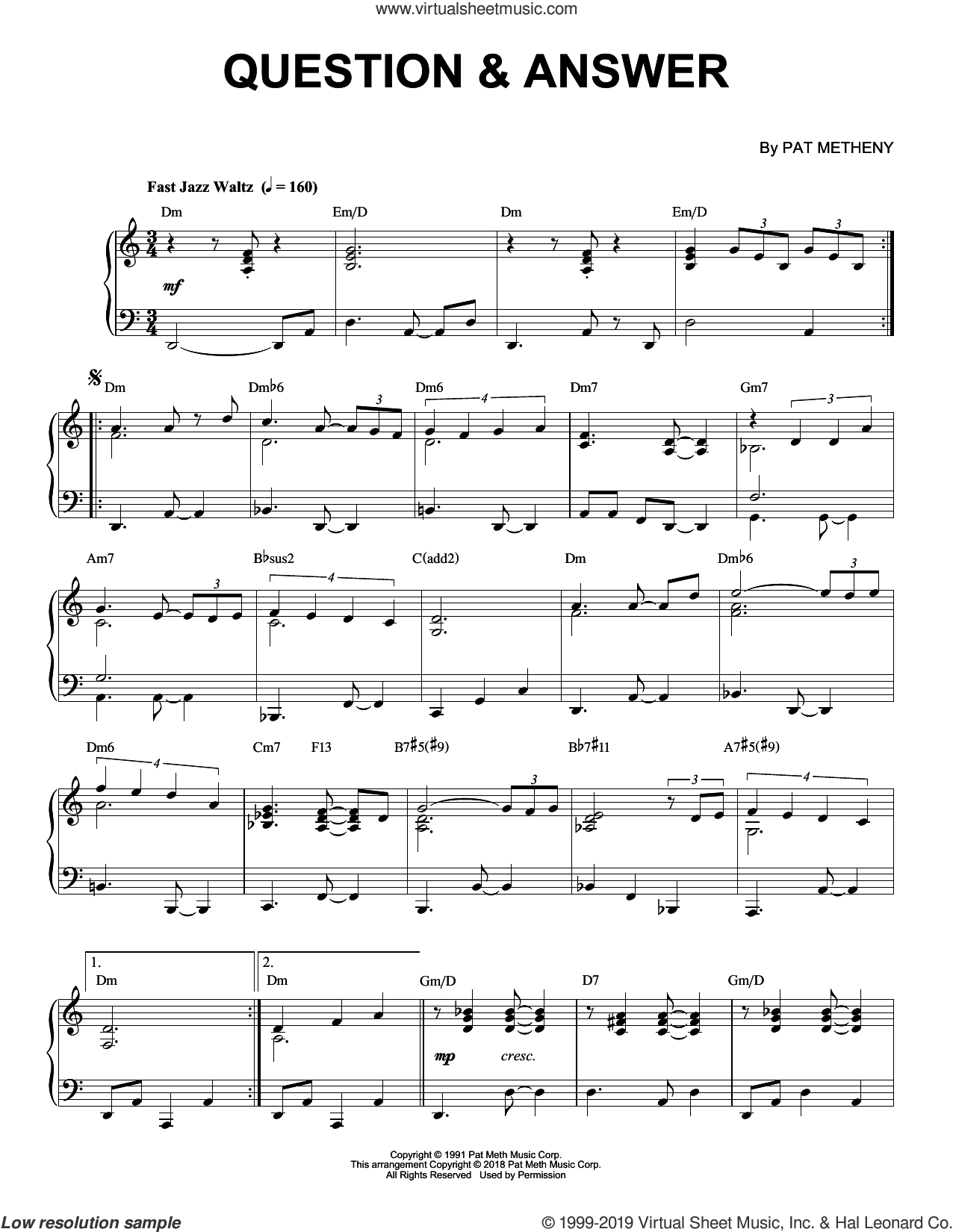 Question and Answer sheet music for piano solo by Pat Metheny, intermediate skill level