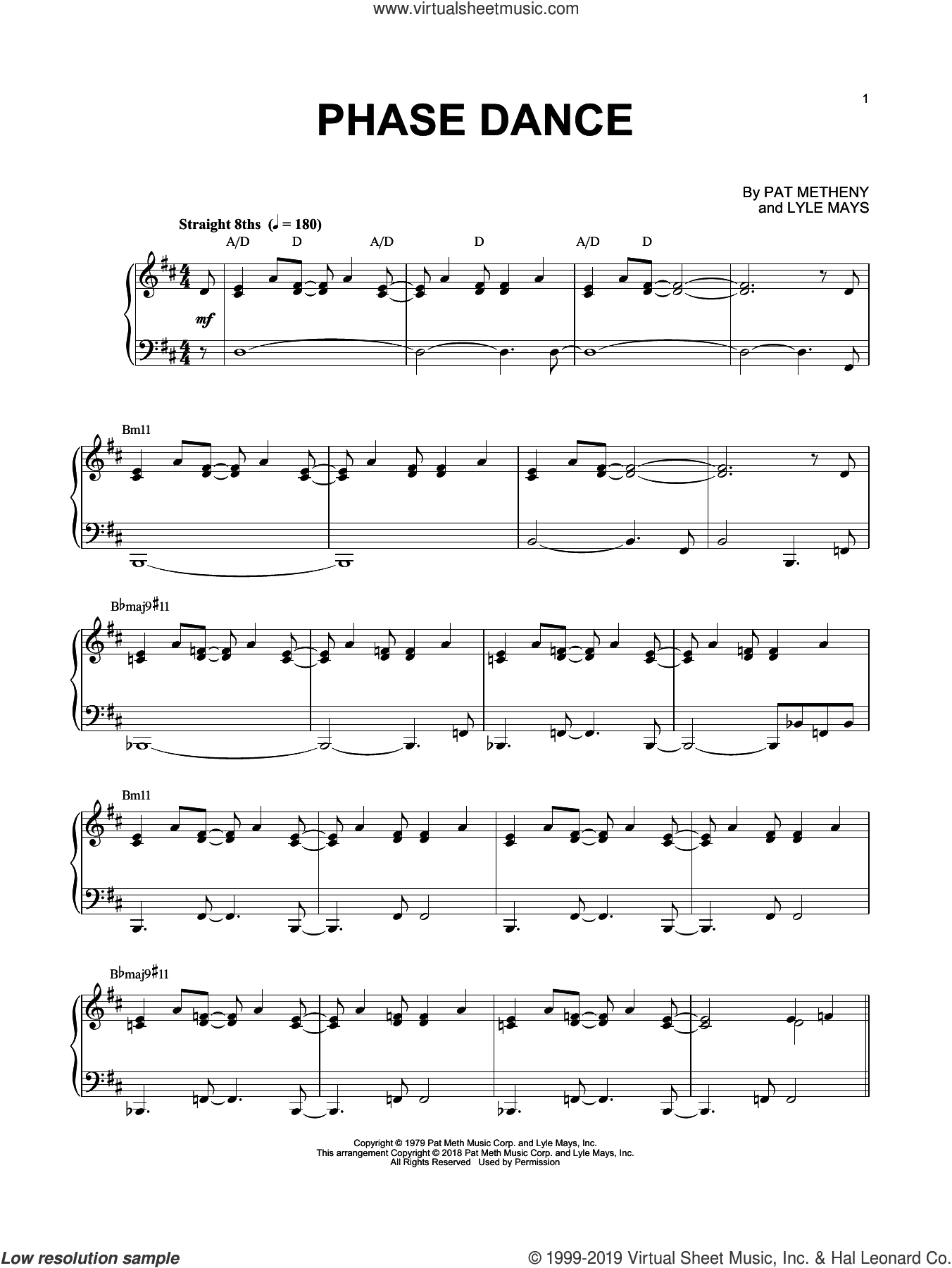 Phase Dance sheet music for piano solo by Pat Metheny and Lyle Mays, intermediate skill level