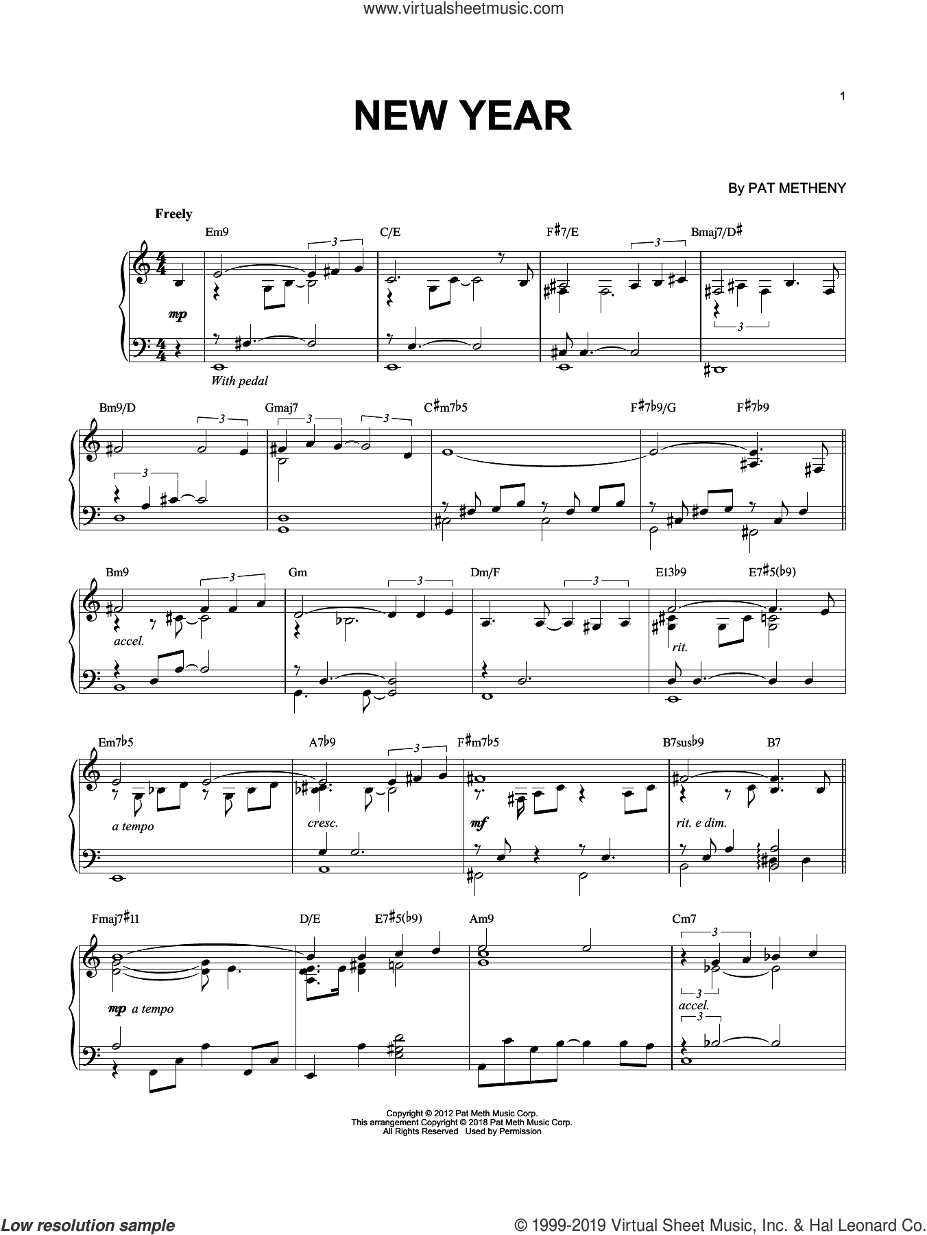 New Year sheet music for piano solo by Pat Metheny, intermediate skill level
