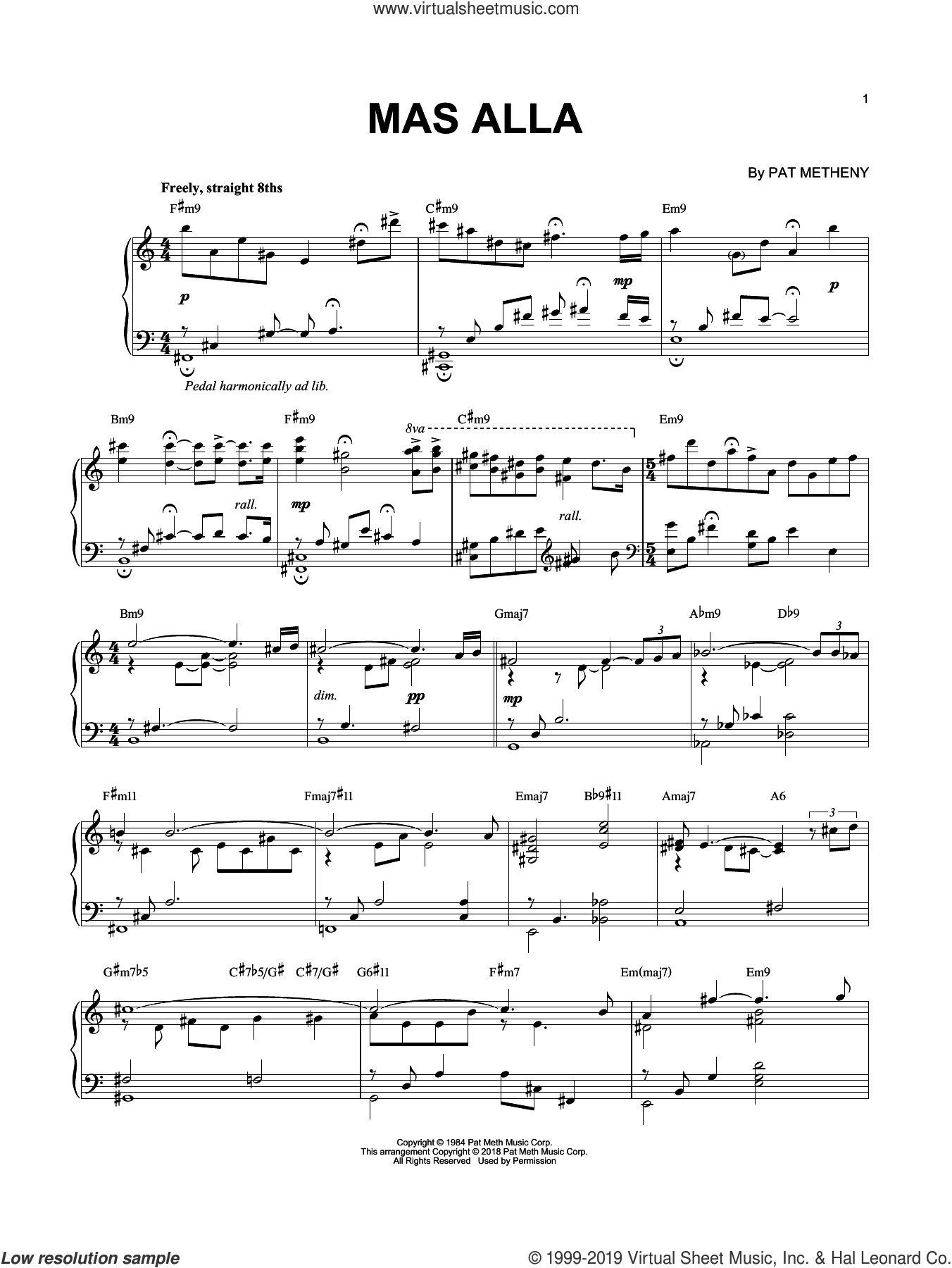 Mas Alla sheet music for piano solo by Pat Metheny and Pedro Aznar, intermediate skill level