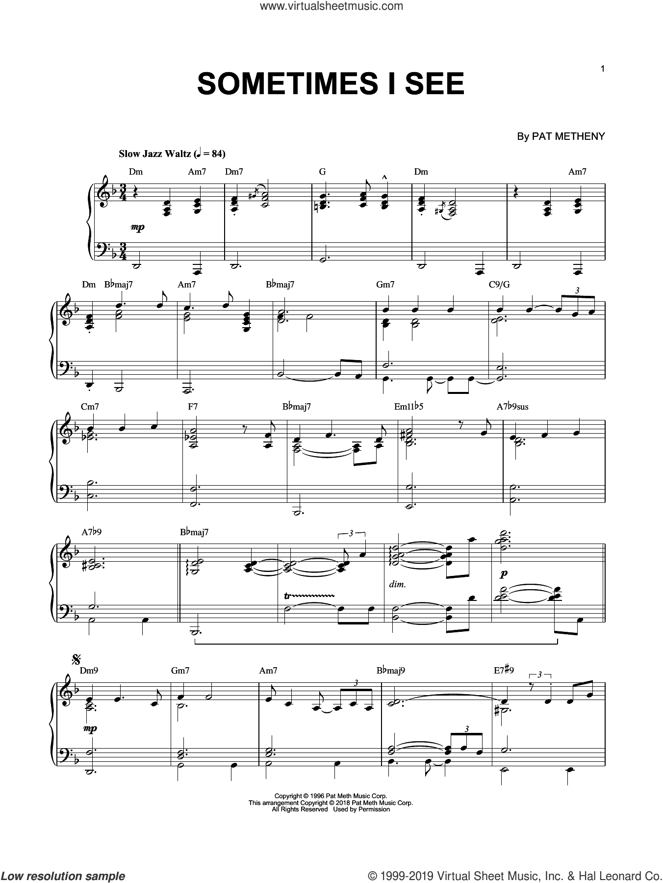 Sometimes I See sheet music for piano solo by Pat Metheny, intermediate skill level