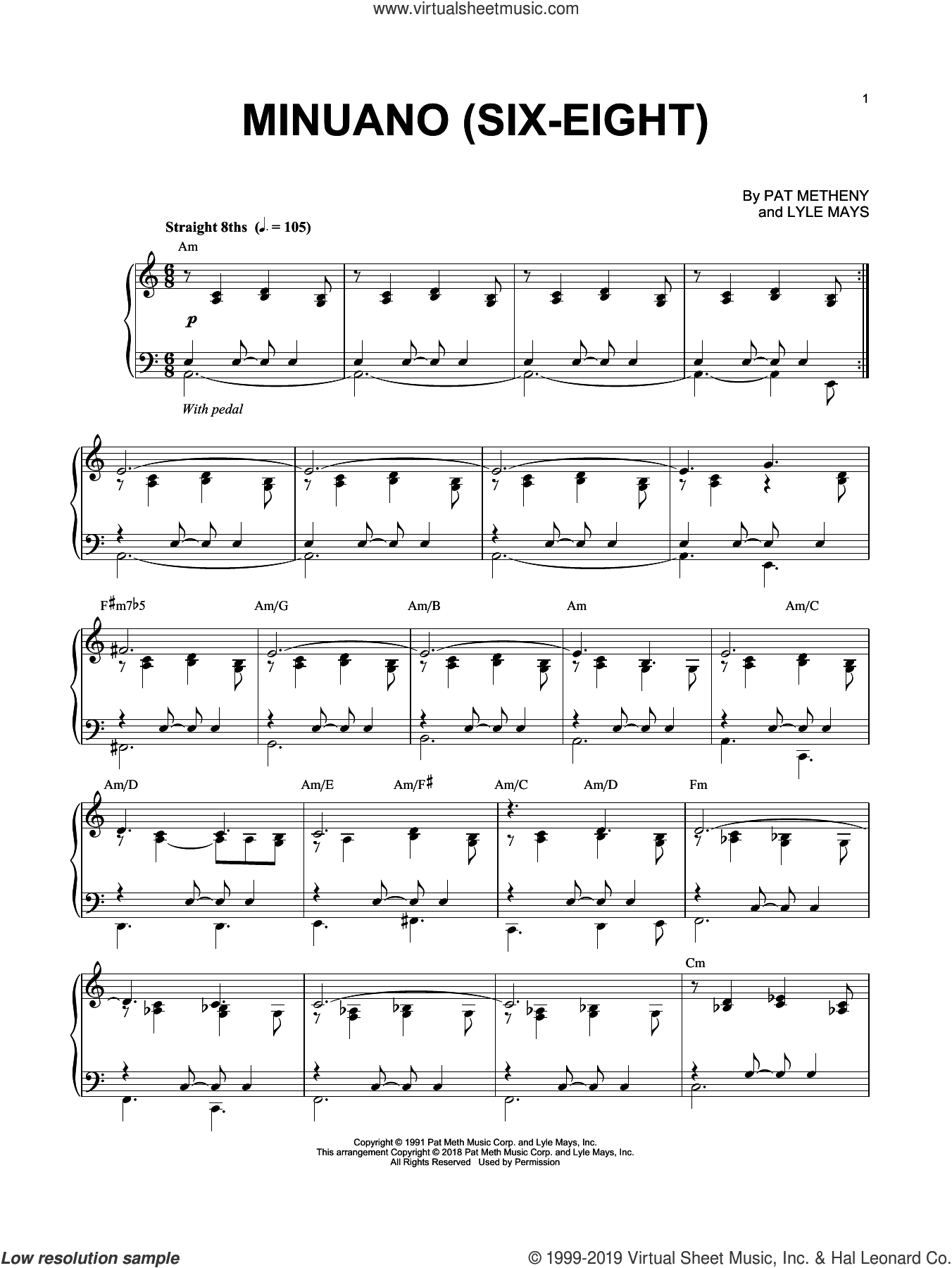 Minuano (Six-Eight) sheet music for piano solo by Pat Metheny and Lyle Mays, intermediate skill level