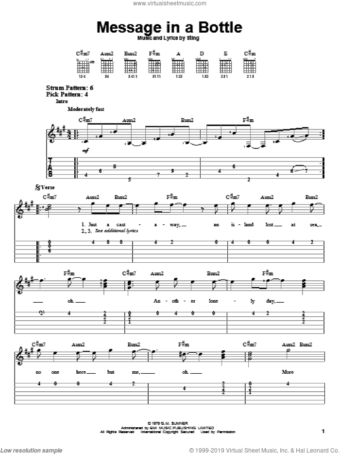 Message In A Bottle sheet music for guitar solo (easy tablature) by The Police and Sting, easy guitar (easy tablature). Score Image Preview.