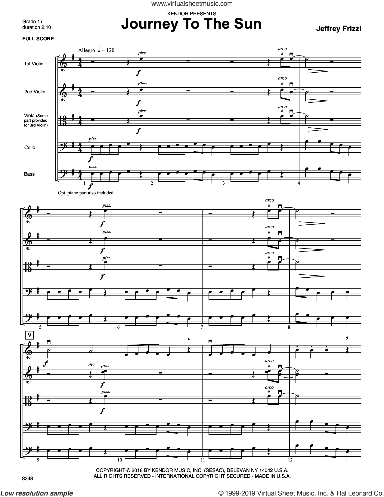 Journey To The Sun (COMPLETE) sheet music for orchestra by Jeff Frizzi, intermediate skill level