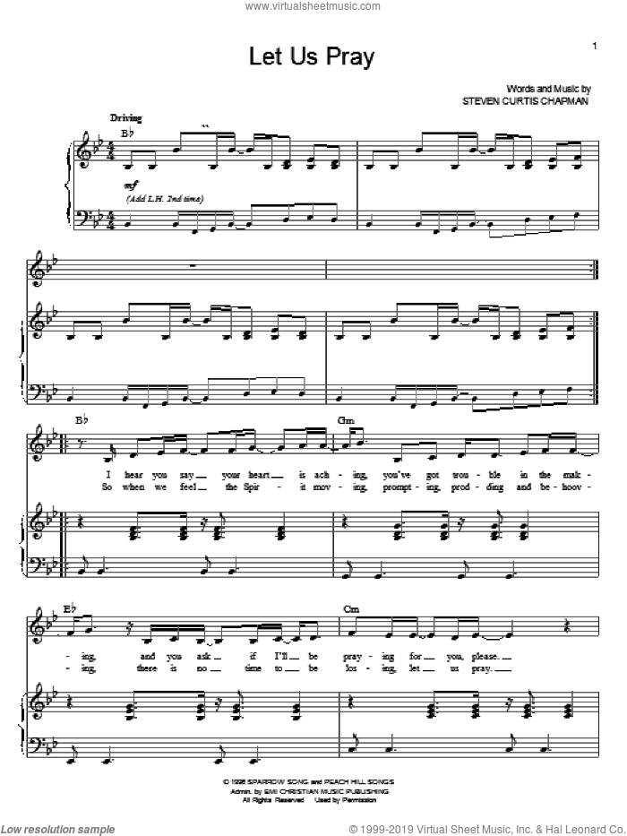 Let Us Pray sheet music for voice and piano by Steven Curtis Chapman. Score Image Preview.