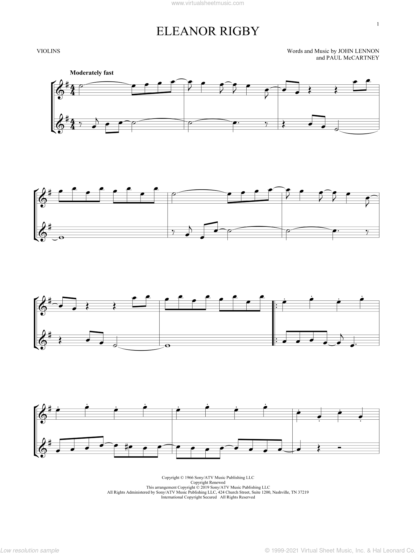 Eleanor Rigby sheet music for two violins (duets, violin duets) by The Beatles, John Lennon and Paul McCartney, intermediate skill level