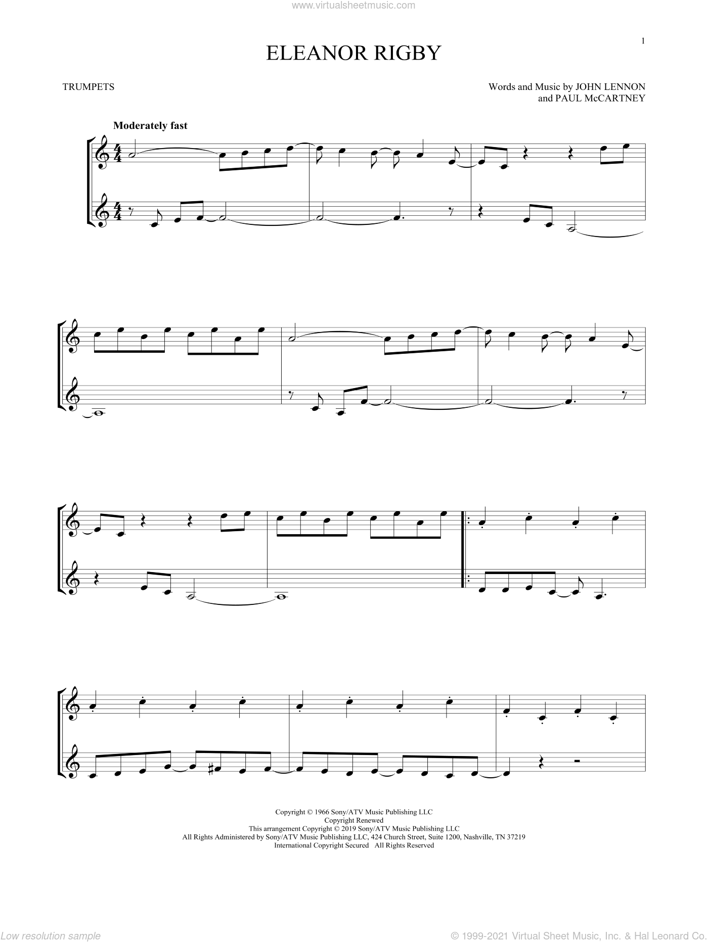 Eleanor Rigby sheet music for two trumpets (duet, duets) by The Beatles, John Lennon and Paul McCartney, intermediate skill level