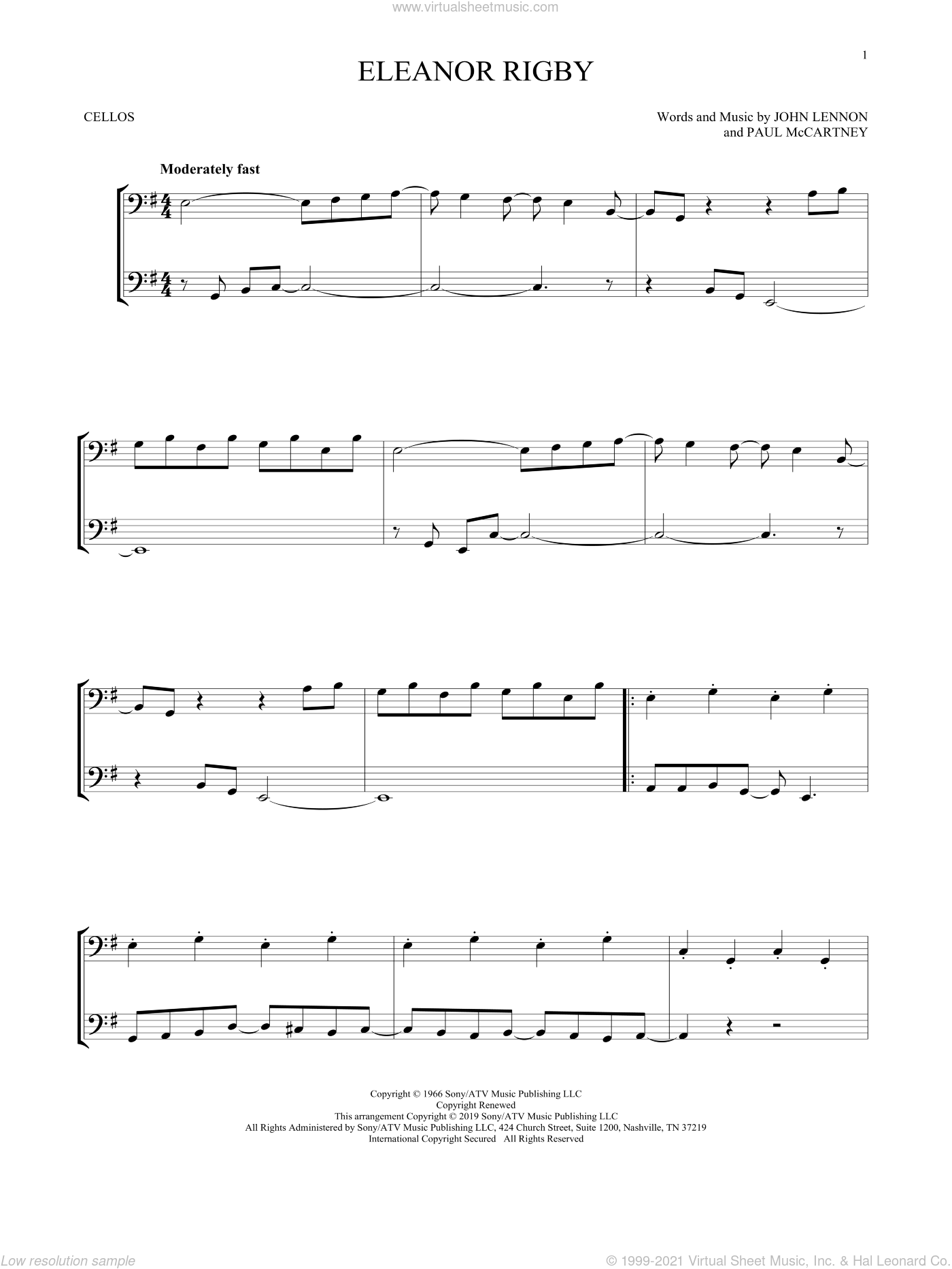 Eleanor Rigby sheet music for two cellos (duet, duets) by The Beatles, John Lennon and Paul McCartney, intermediate skill level