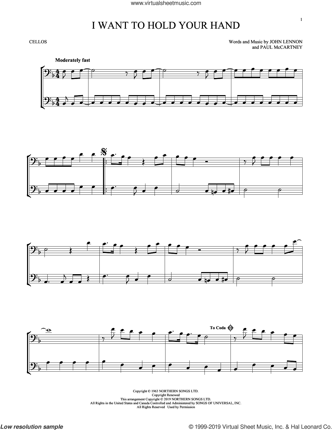 I Want To Hold Your Hand sheet music for two cellos (duet, duets) by The Beatles, John Lennon and Paul McCartney, intermediate skill level