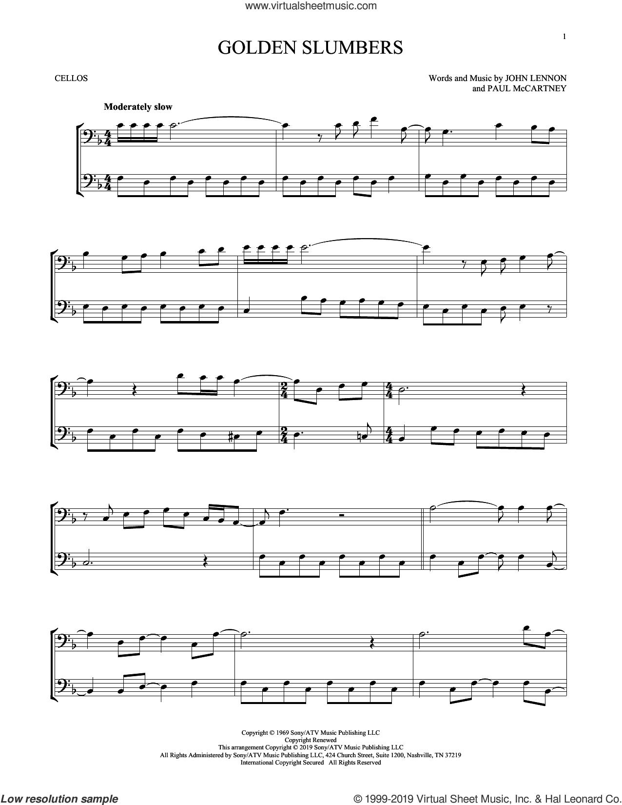 Golden Slumbers sheet music for two cellos (duet, duets) by The Beatles, John Lennon and Paul McCartney, intermediate skill level
