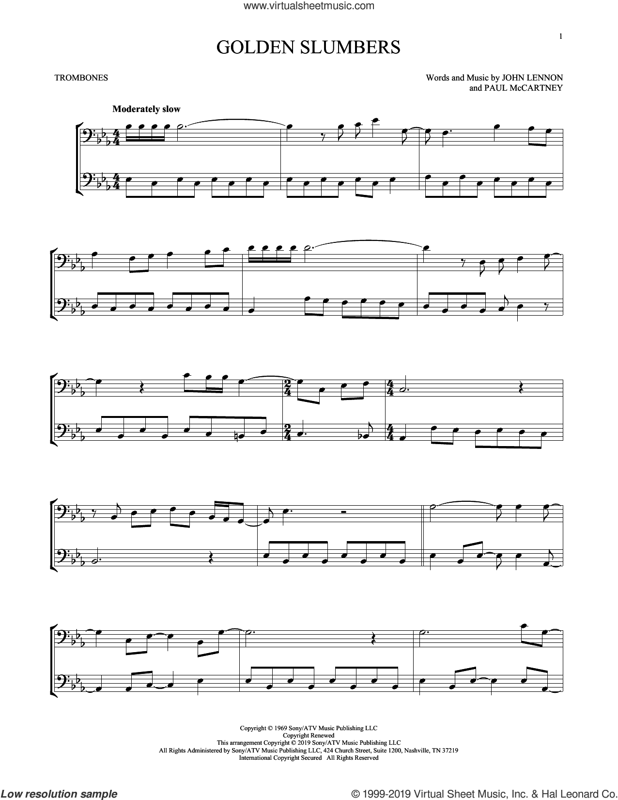 Golden Slumbers sheet music for two trombones (duet, duets) by The Beatles, John Lennon and Paul McCartney, intermediate skill level