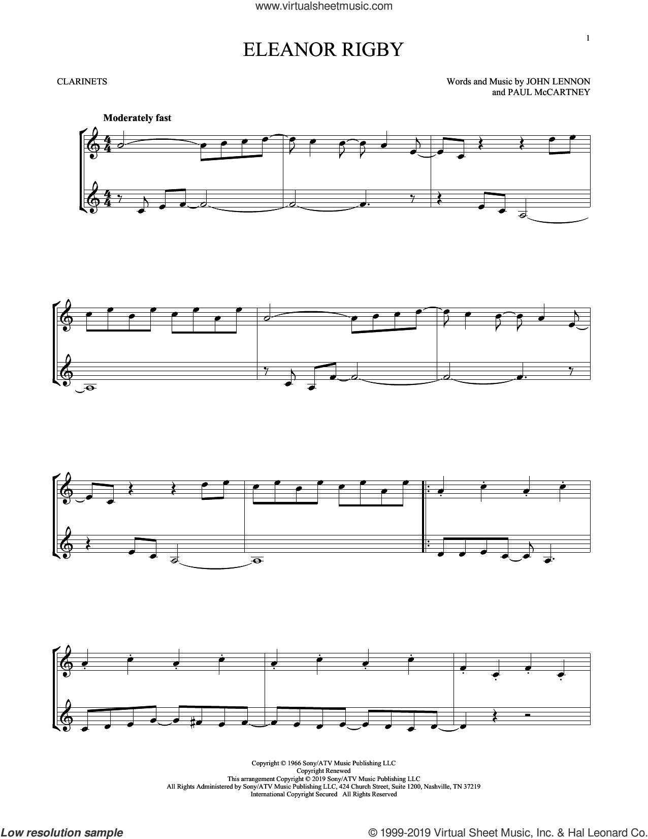 Eleanor Rigby sheet music for two clarinets (duets) by The Beatles and John Lennon, intermediate skill level