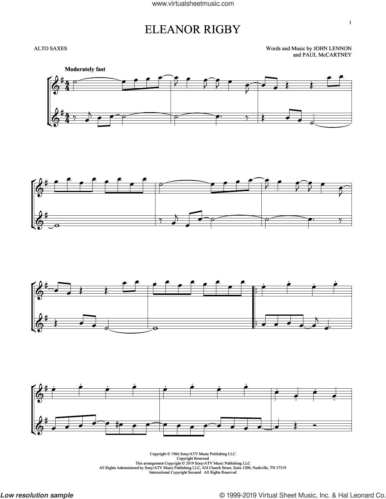 Eleanor Rigby sheet music for two alto saxophones (duets) by The Beatles, John Lennon and Paul McCartney, intermediate skill level