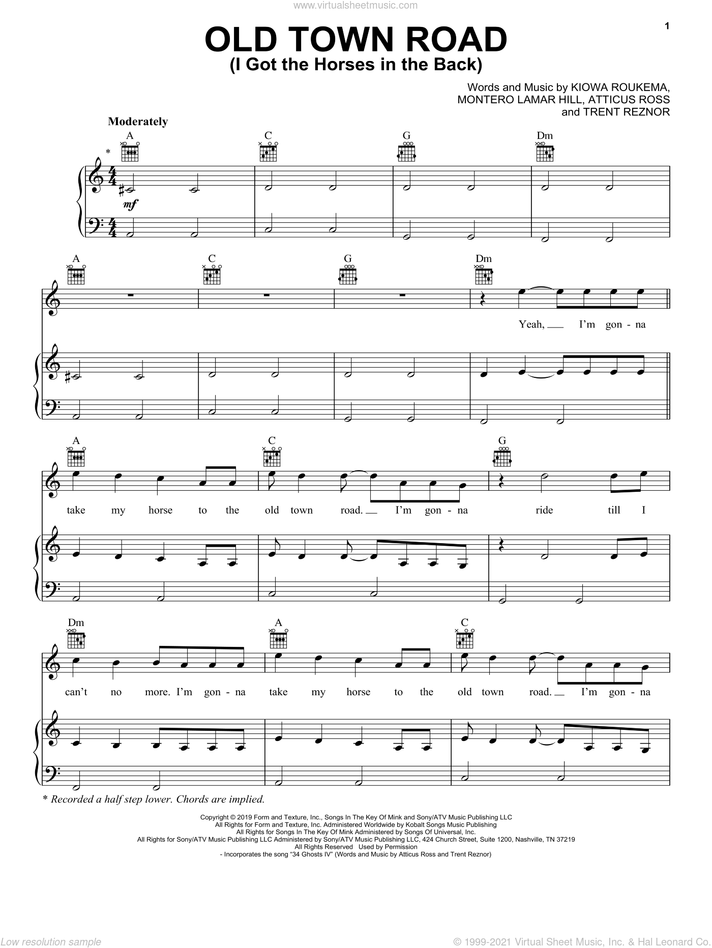 Old Town Road (I Got The Horses In The Back) sheet music for voice, piano or guitar by Lil Nas X, Lil Nas X feat. Billy Ray Cyrus, Atticus Ross, Kiowa Roukema, Montero Lamar Hill and Trent Reznor, intermediate skill level