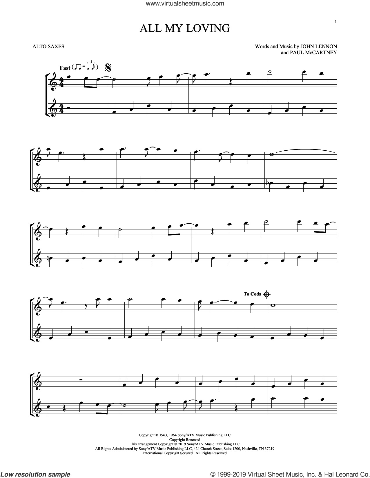 All My Loving sheet music for two alto saxophones (duets) by The Beatles, John Lennon and Paul McCartney, intermediate skill level