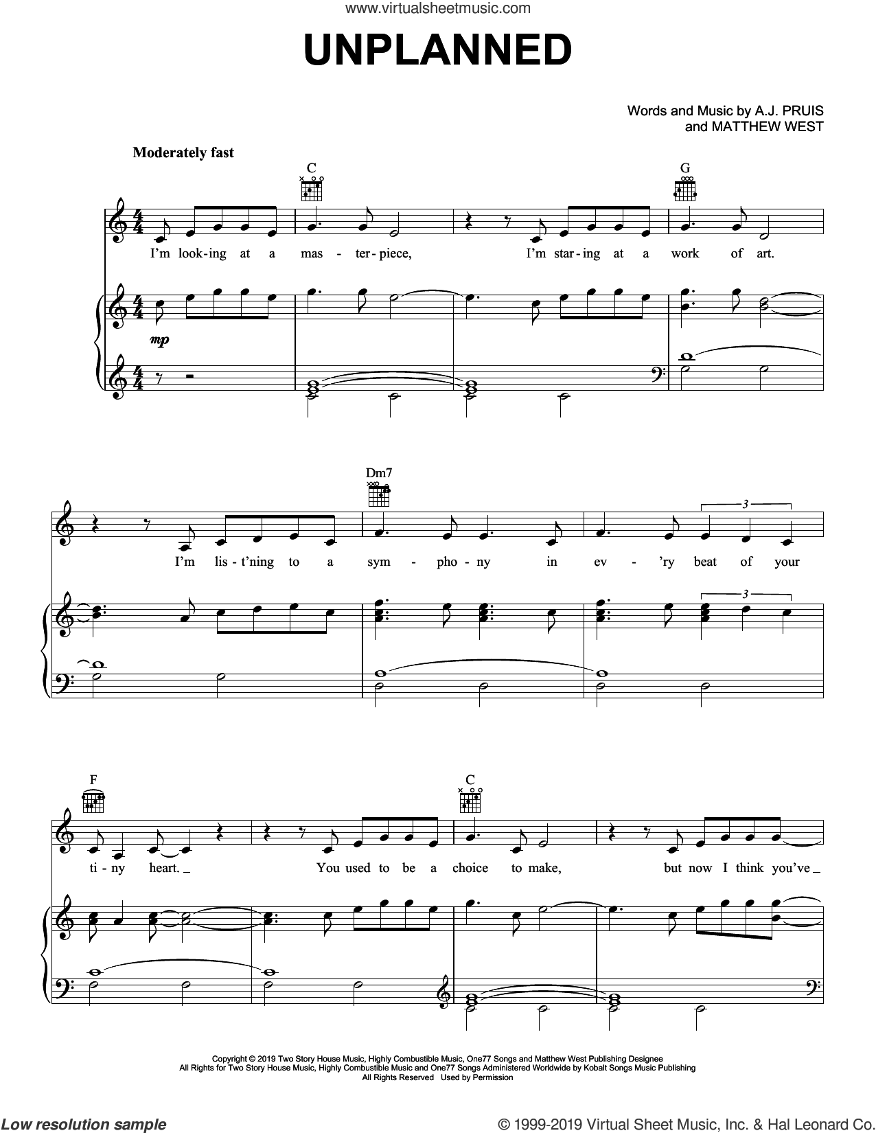 Unplanned sheet music for voice, piano or guitar by Matthew West and A.J. Pruis, intermediate skill level