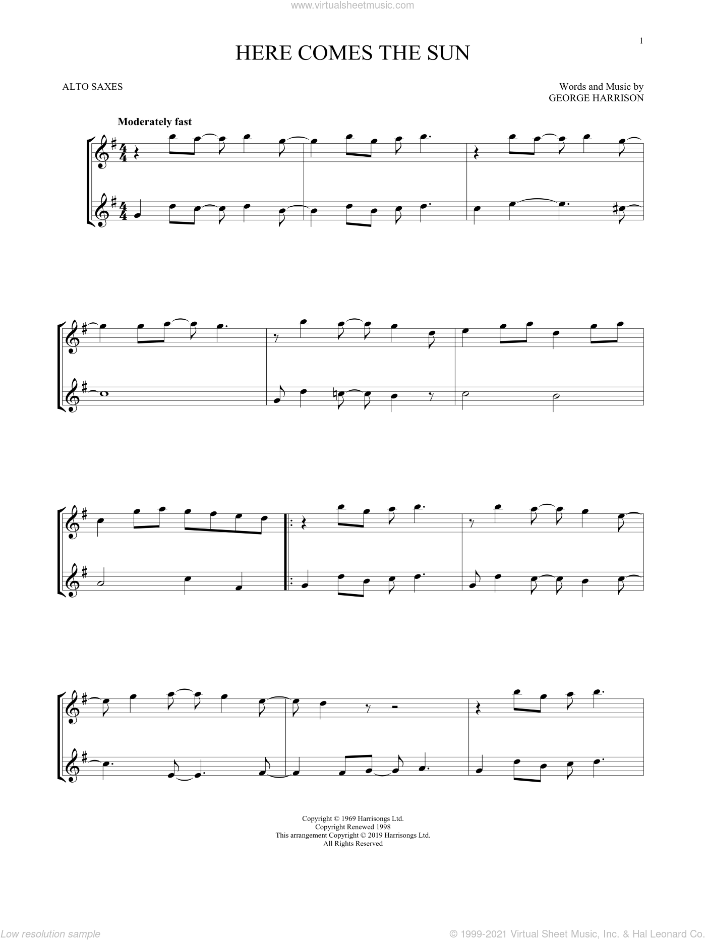 Here Comes The Sun sheet music for two alto saxophones (duets) by The Beatles and George Harrison, intermediate skill level