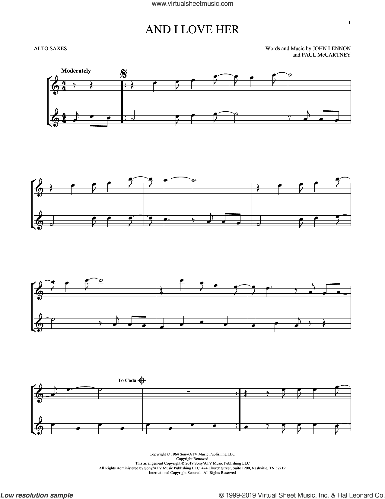 And I Love Her sheet music for two alto saxophones (duets) by The Beatles, John Lennon and Paul McCartney, intermediate skill level