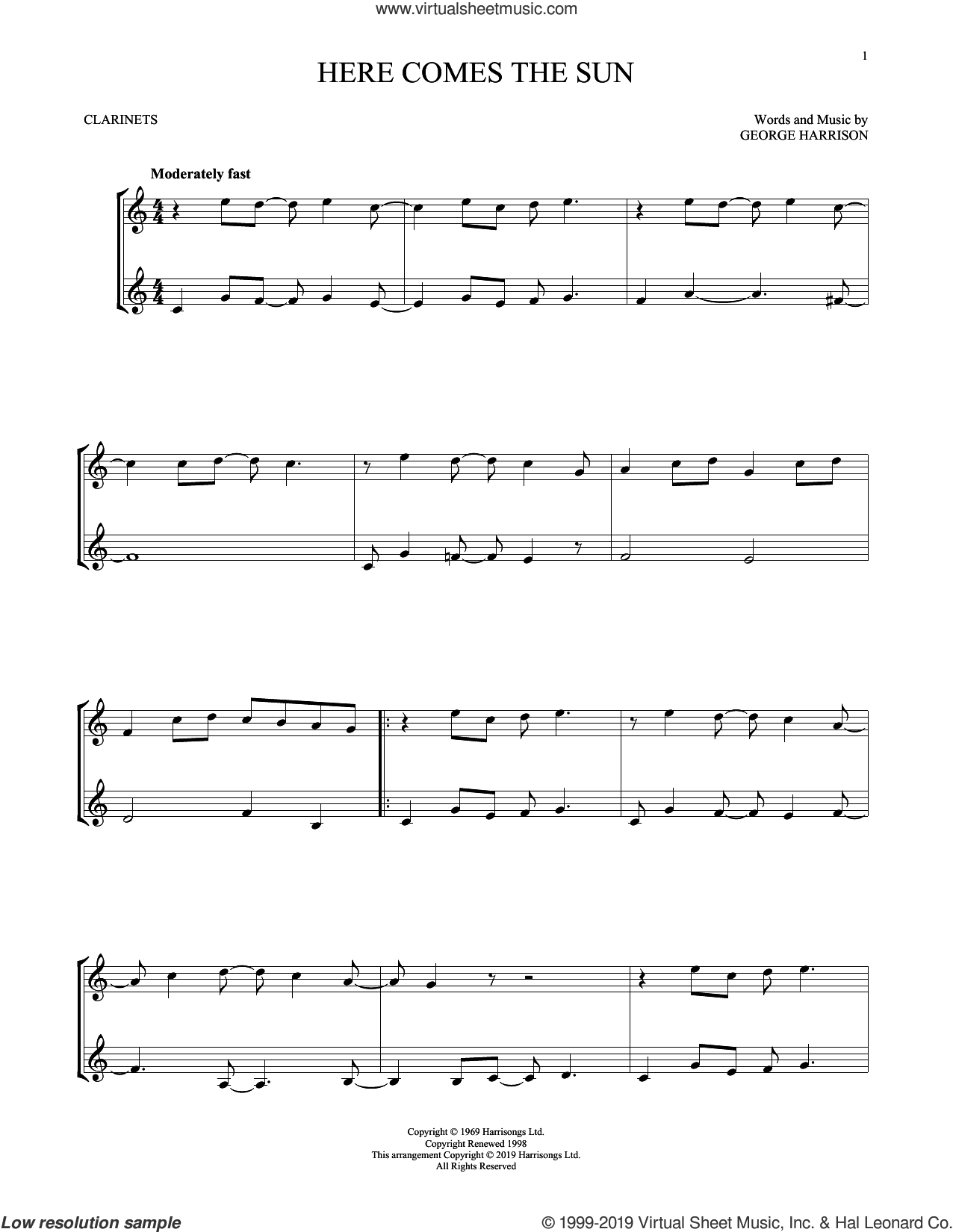 Here Comes The Sun sheet music for two clarinets (duets) by The Beatles and George Harrison, intermediate skill level