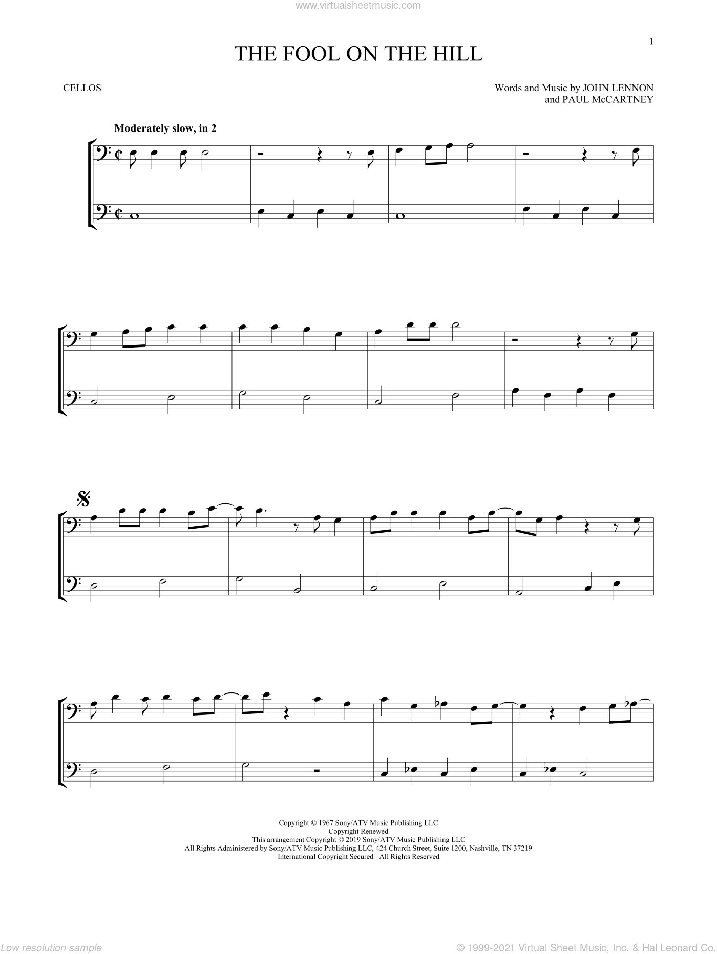 The Fool On The Hill sheet music for two cellos (duet, duets) by The Beatles, John Lennon and Paul McCartney, intermediate skill level