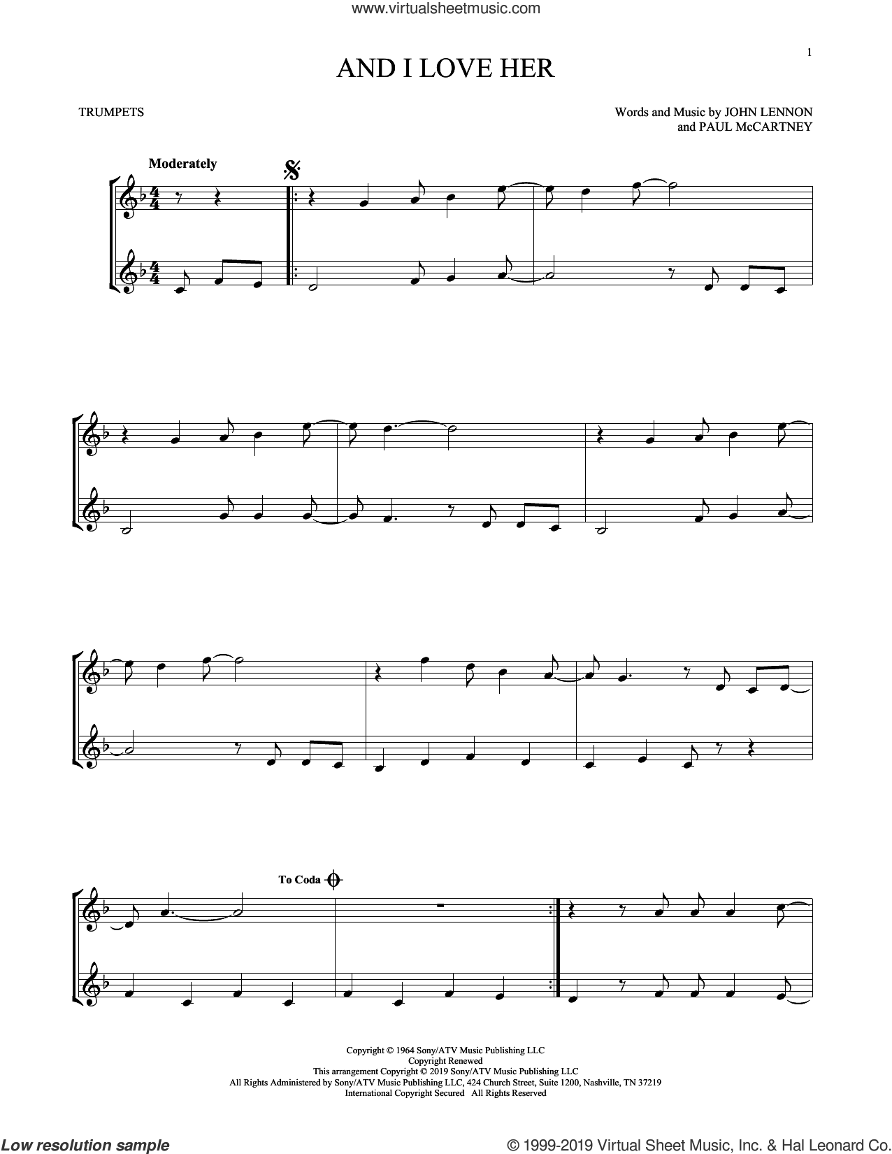 And I Love Her sheet music for two trumpets (duet, duets) by The Beatles, John Lennon and Paul McCartney, intermediate skill level